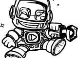 Robot Cartoon Character Coloring Page