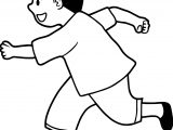 Running Black Hair Boy Coloring Page