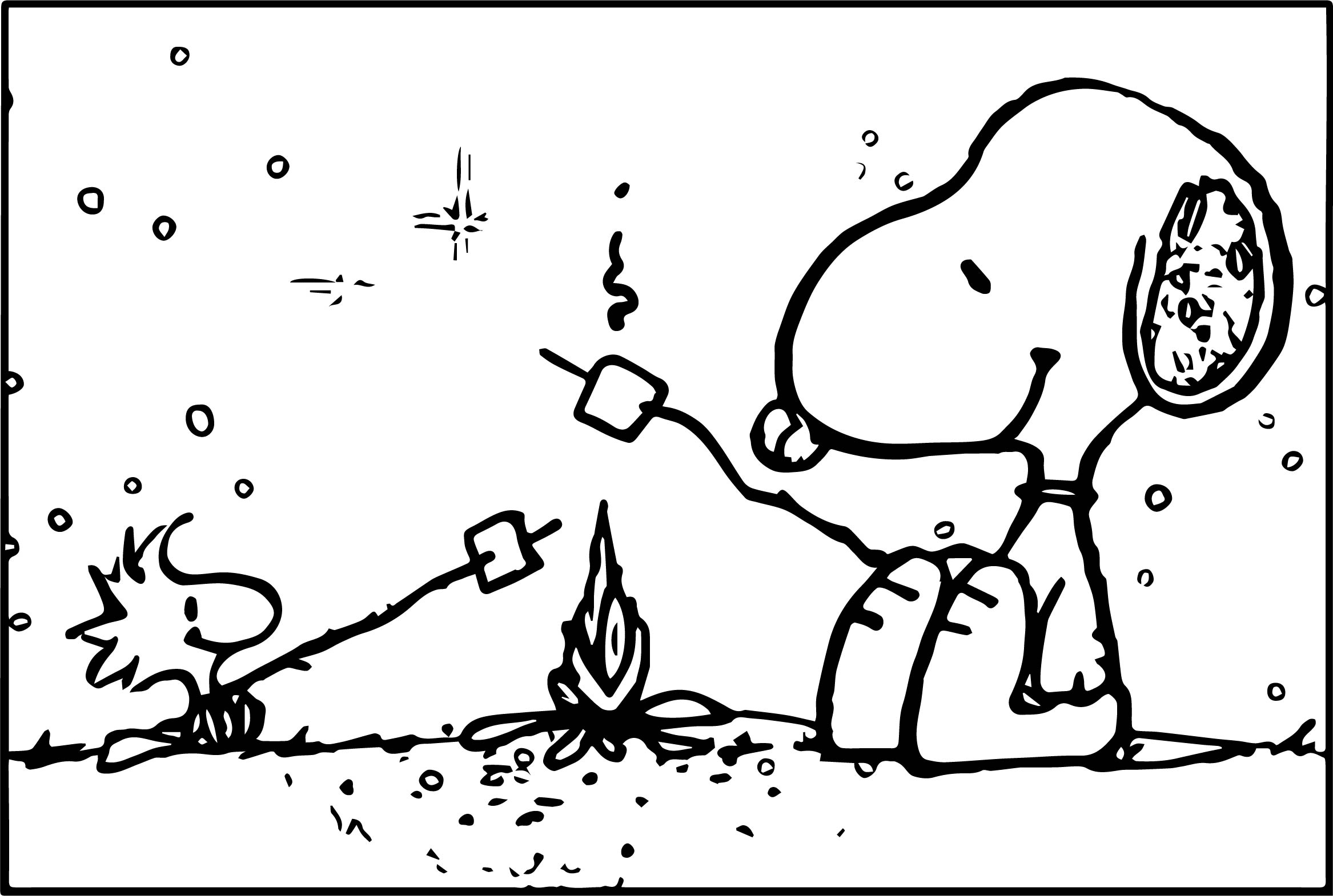 Snoopy camping coloring page for Snoopy coloring page