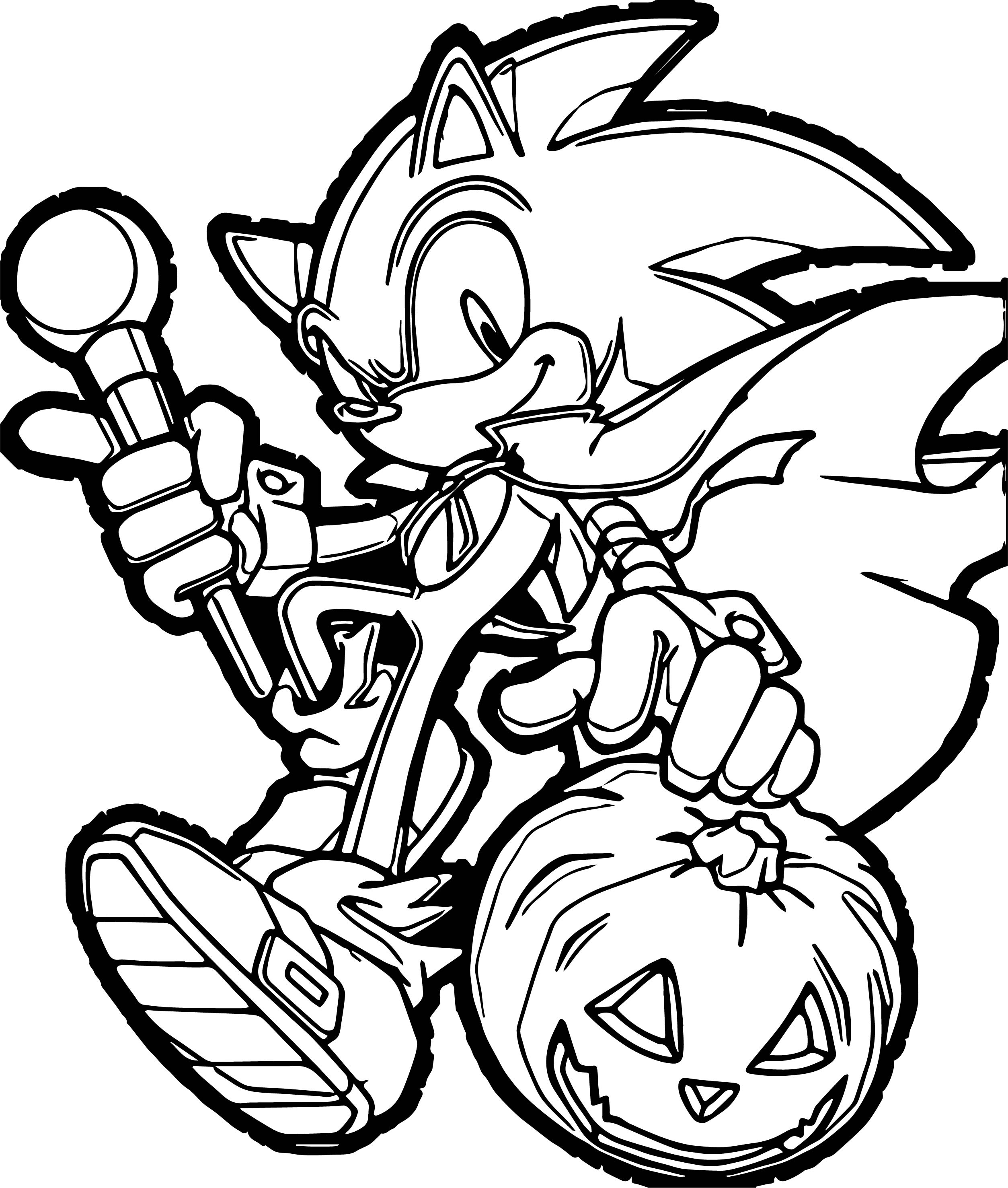 Sonic The Hedgehog Halloween Pumpkin Coloring Page