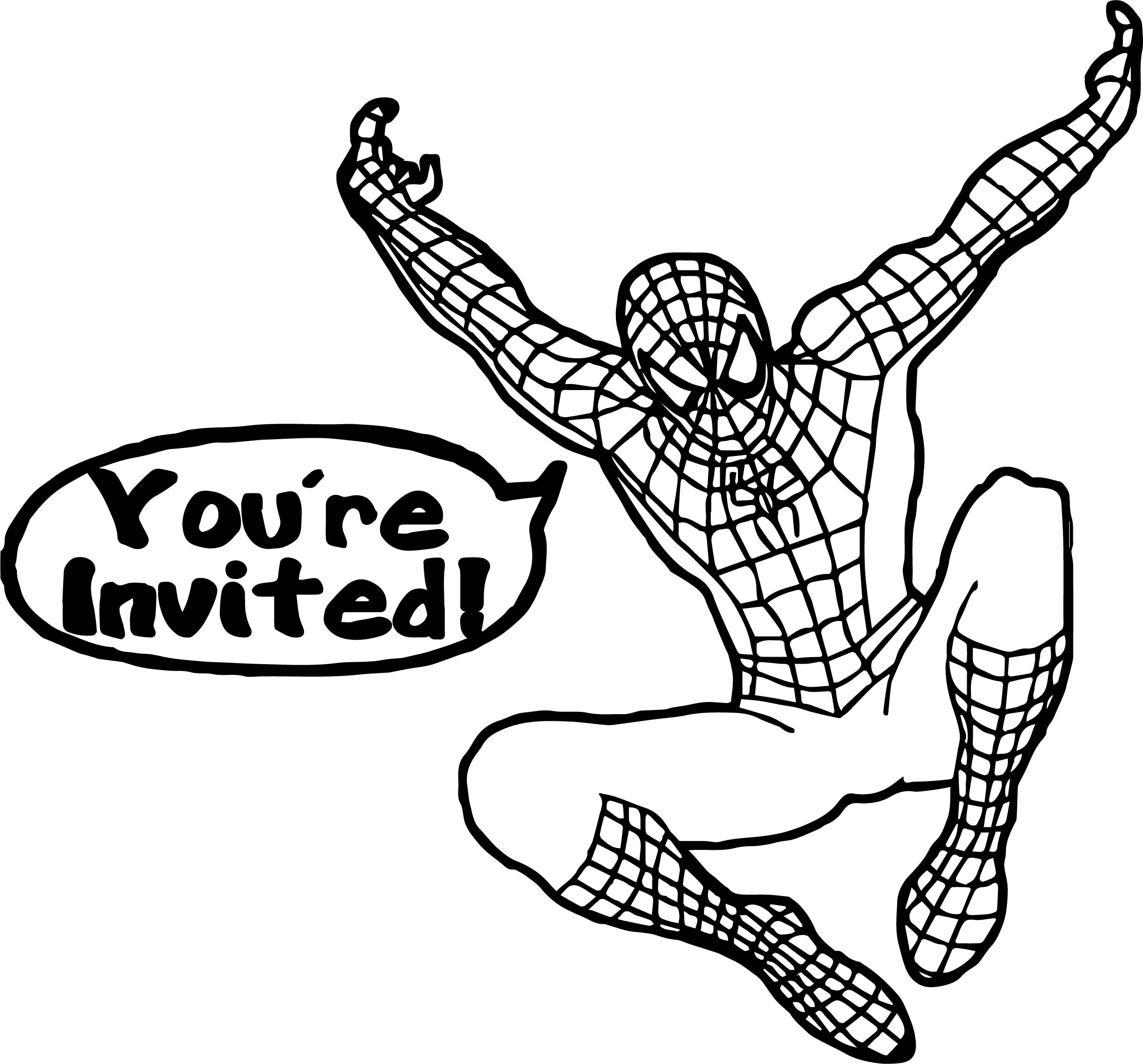 Spiderman Youre Invited Spider Man Coloring Page