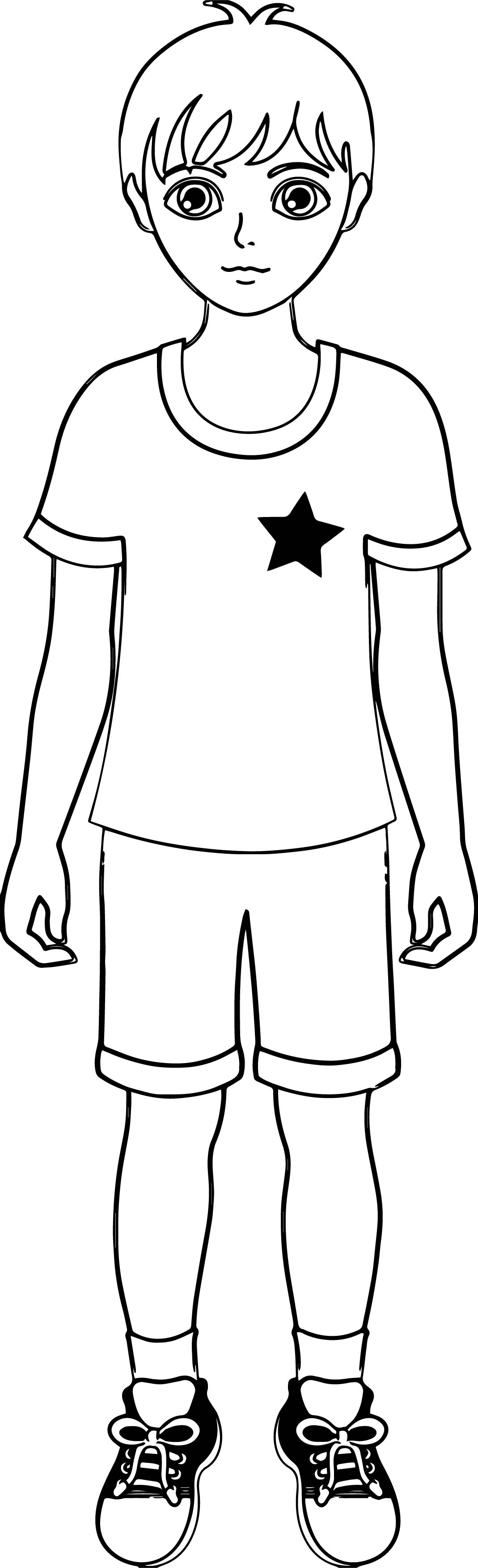 Star Soccer Boy Coloring Page