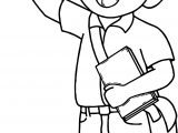 Student Boy Hello Coloring Page