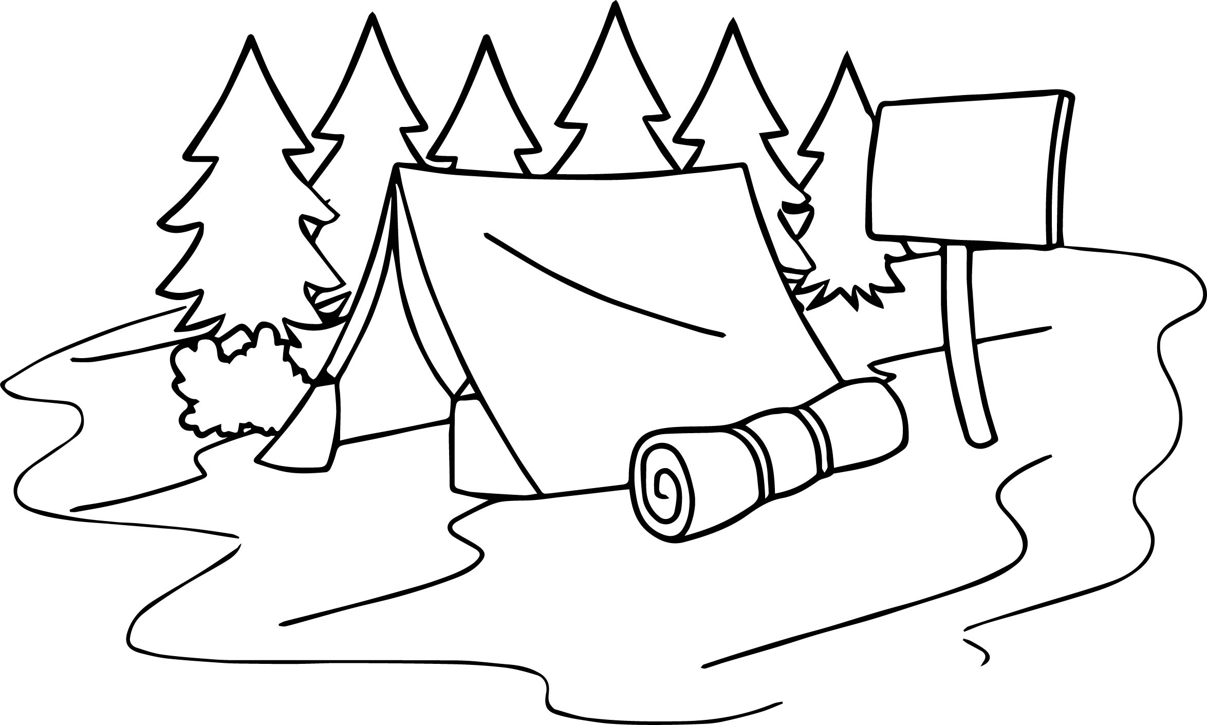 Summer camp tent sleeping bag camping coloring page for Camp coloring pages