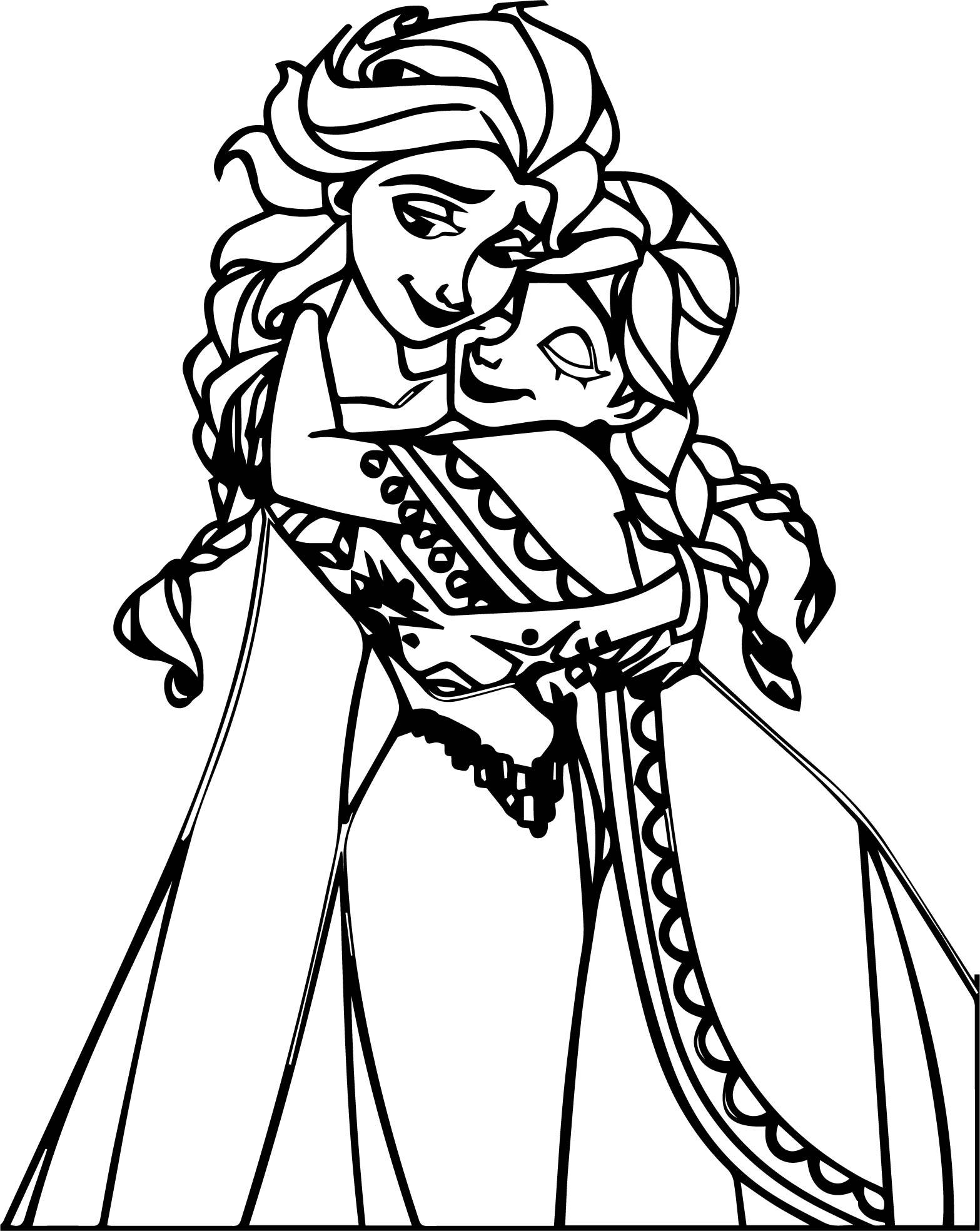 Sweet Elsa Anna Hug Coloring Page