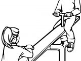 Swing Boy Girl Coloring Page