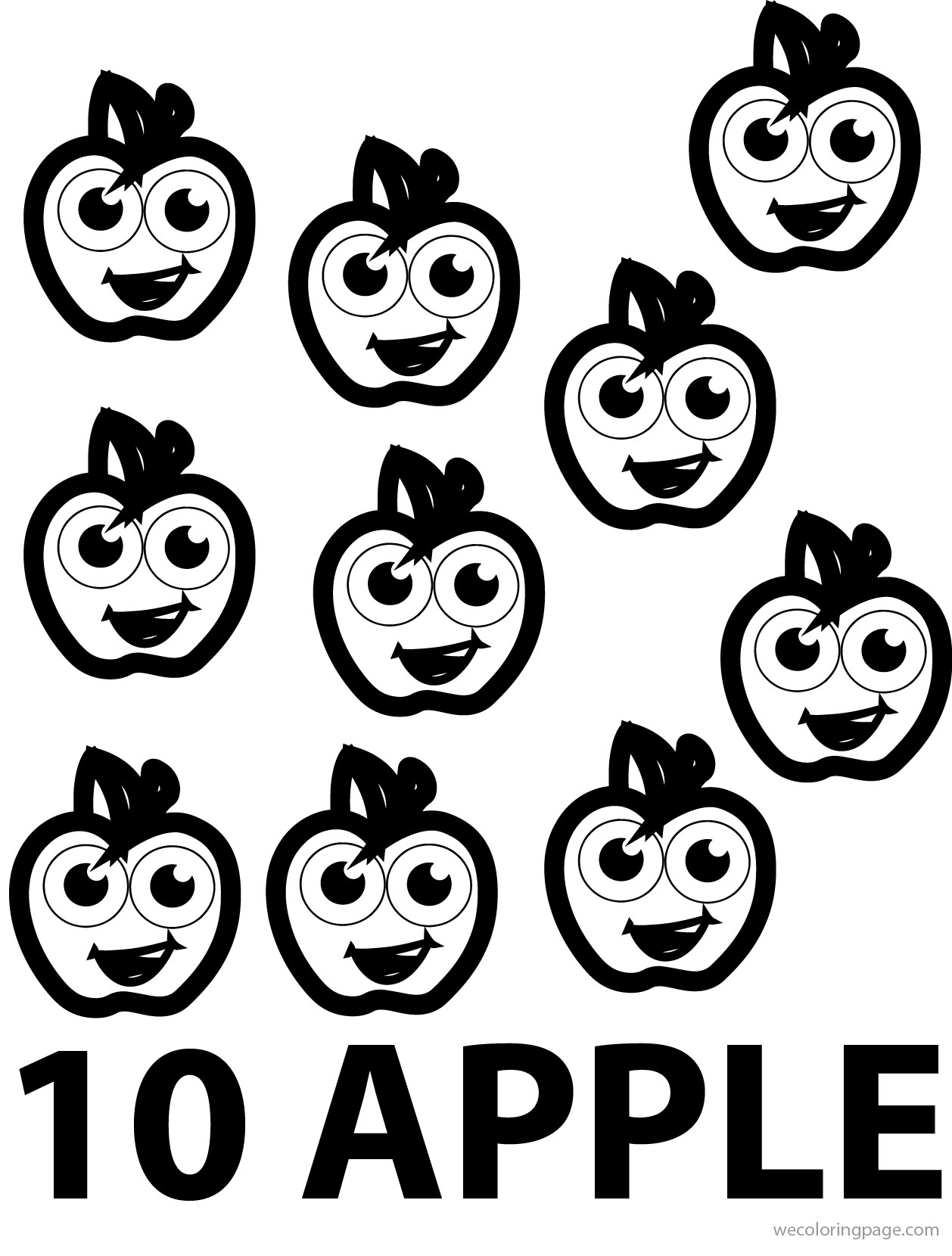 Ten Apple Coloring Pages