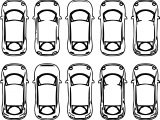 Ten Car Top View Coloring Page