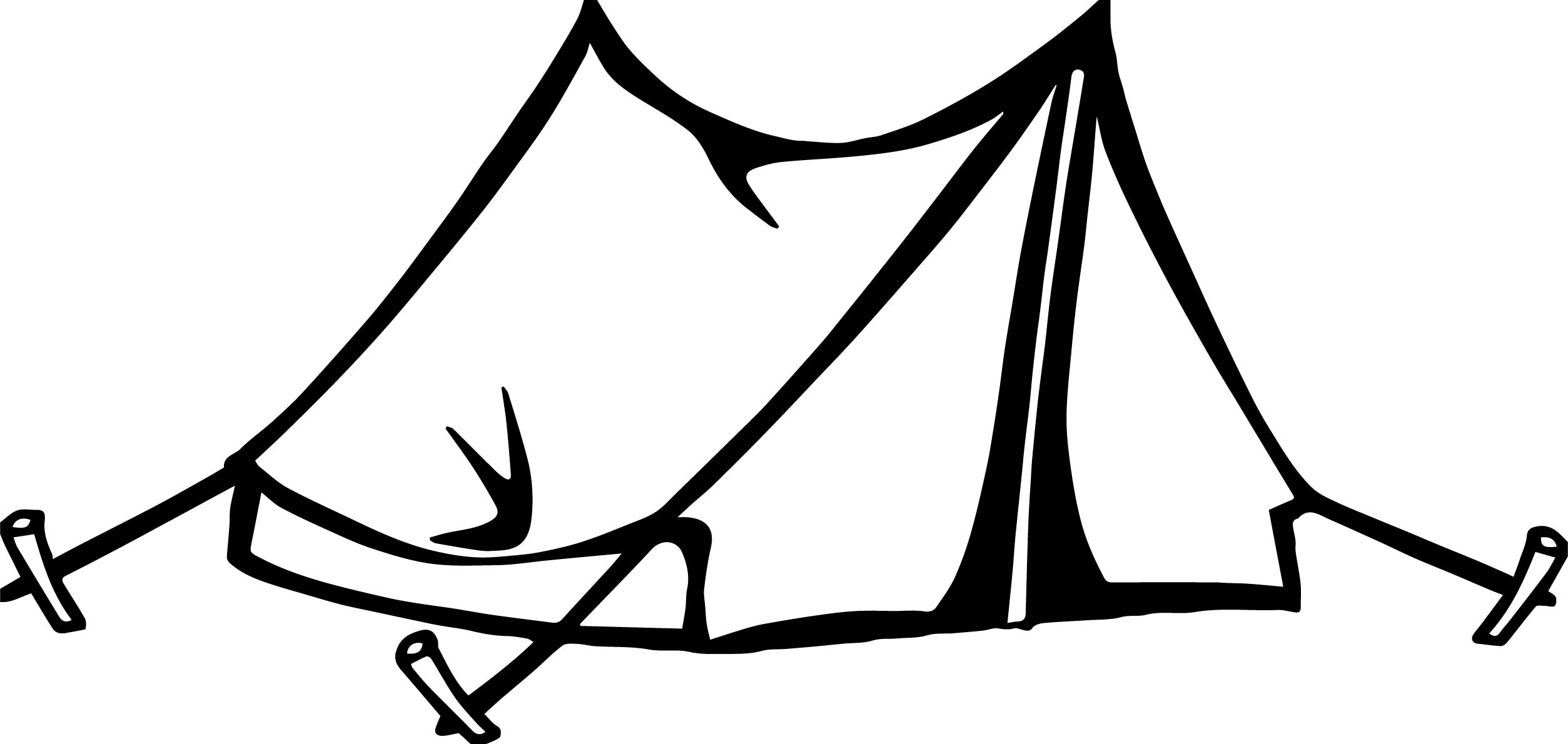 Camping Tent Clip Art Sketch Coloring Page