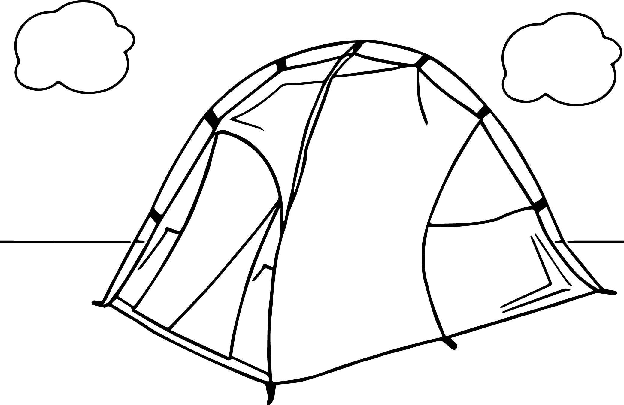 Tent Camping Cloud Coloring Page