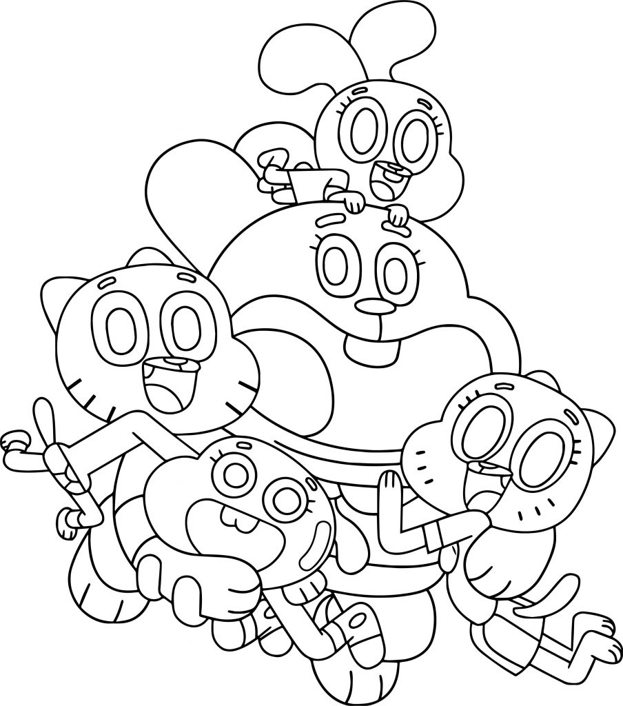 amazing world gumball coloring pages | The Amazing World Of Gumball Family Coloring Page ...