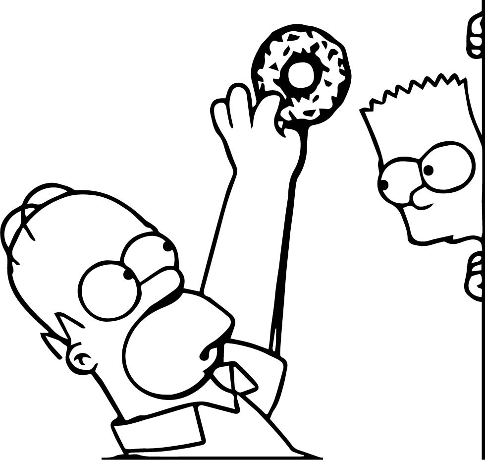 The Simpsons Catch Donut Coloring Page