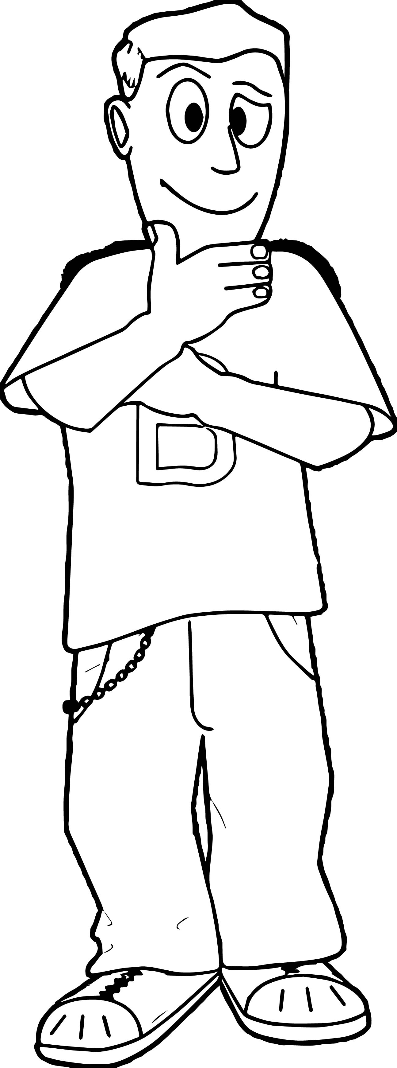 Think Boy Coloring Page