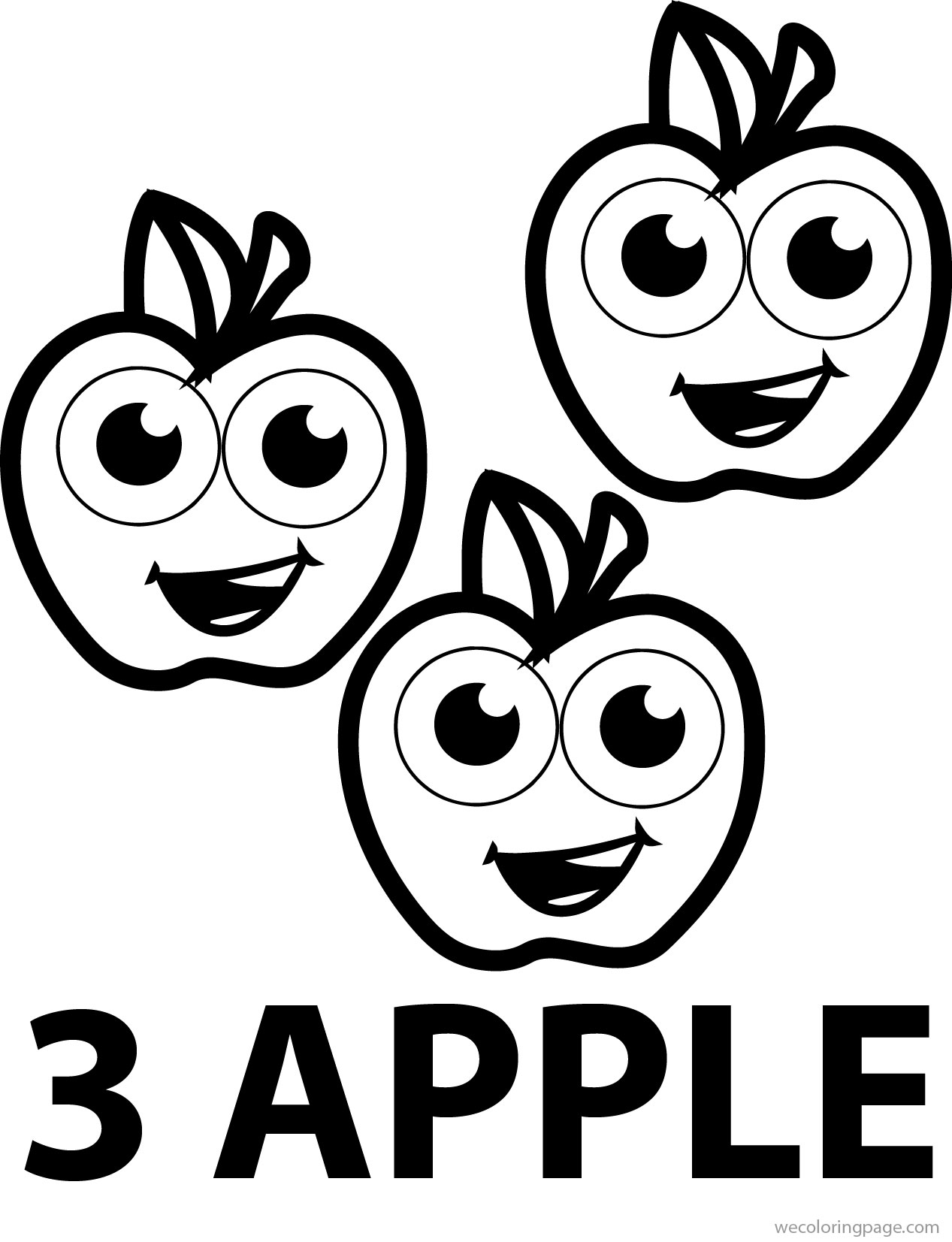 Cartoon Apple Coloring Pages : Three cartoon apple coloring pages wecoloringpage