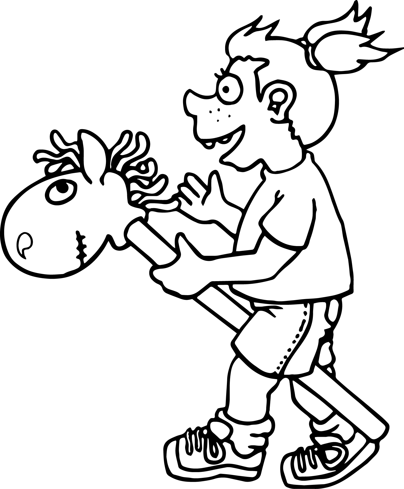 Toy Horse Play Children Coloring Page