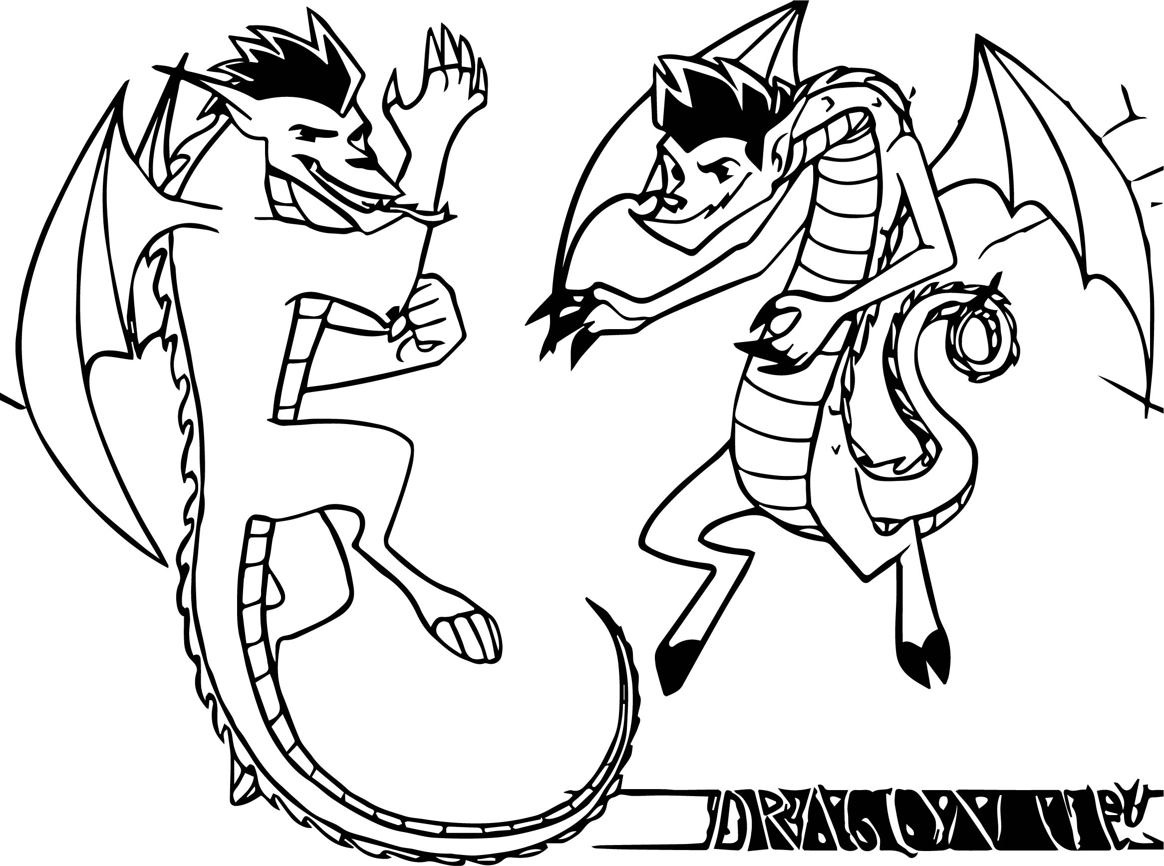 Two Dragon Coloring Page