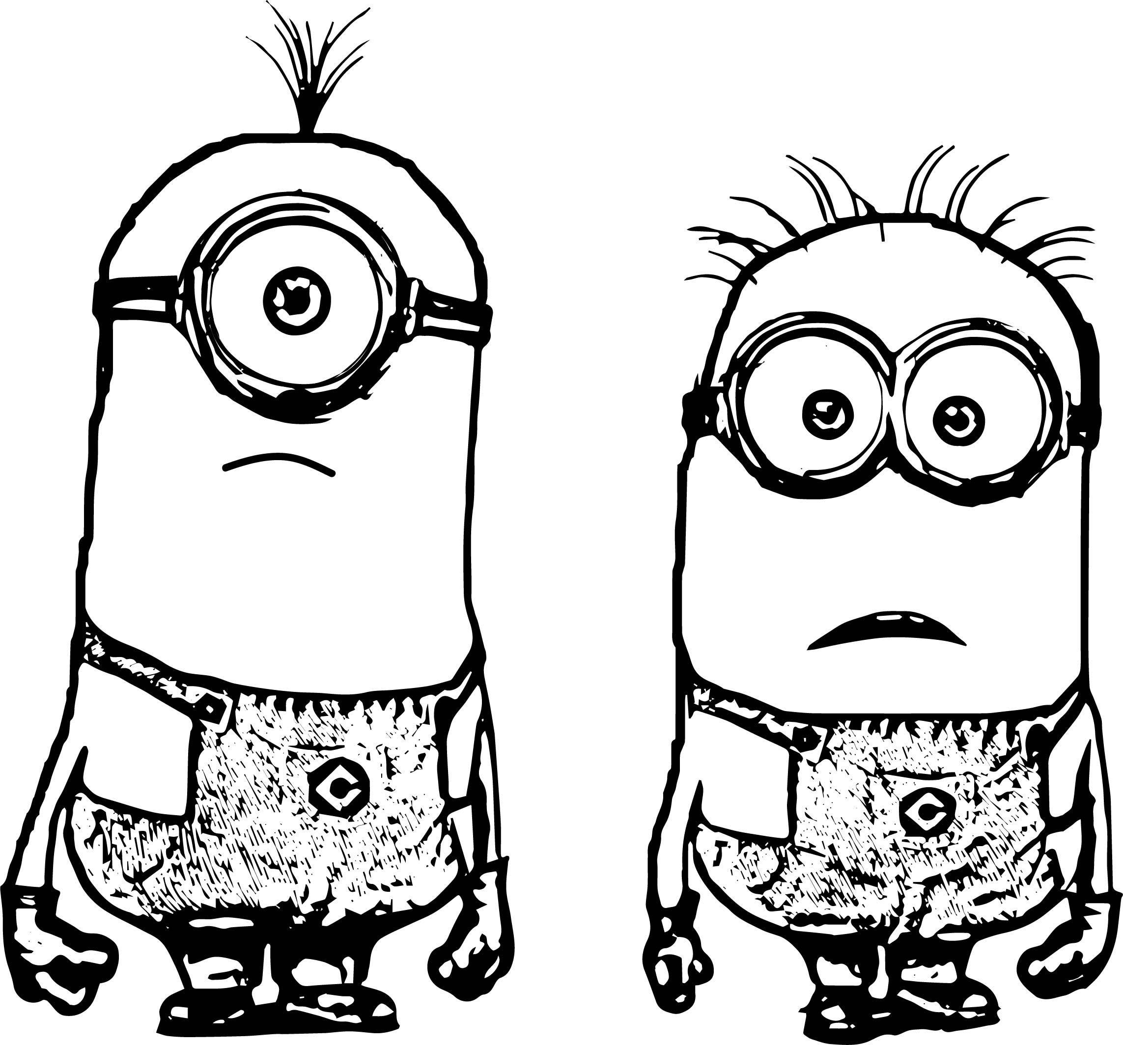 Two Minions Coloring Page
