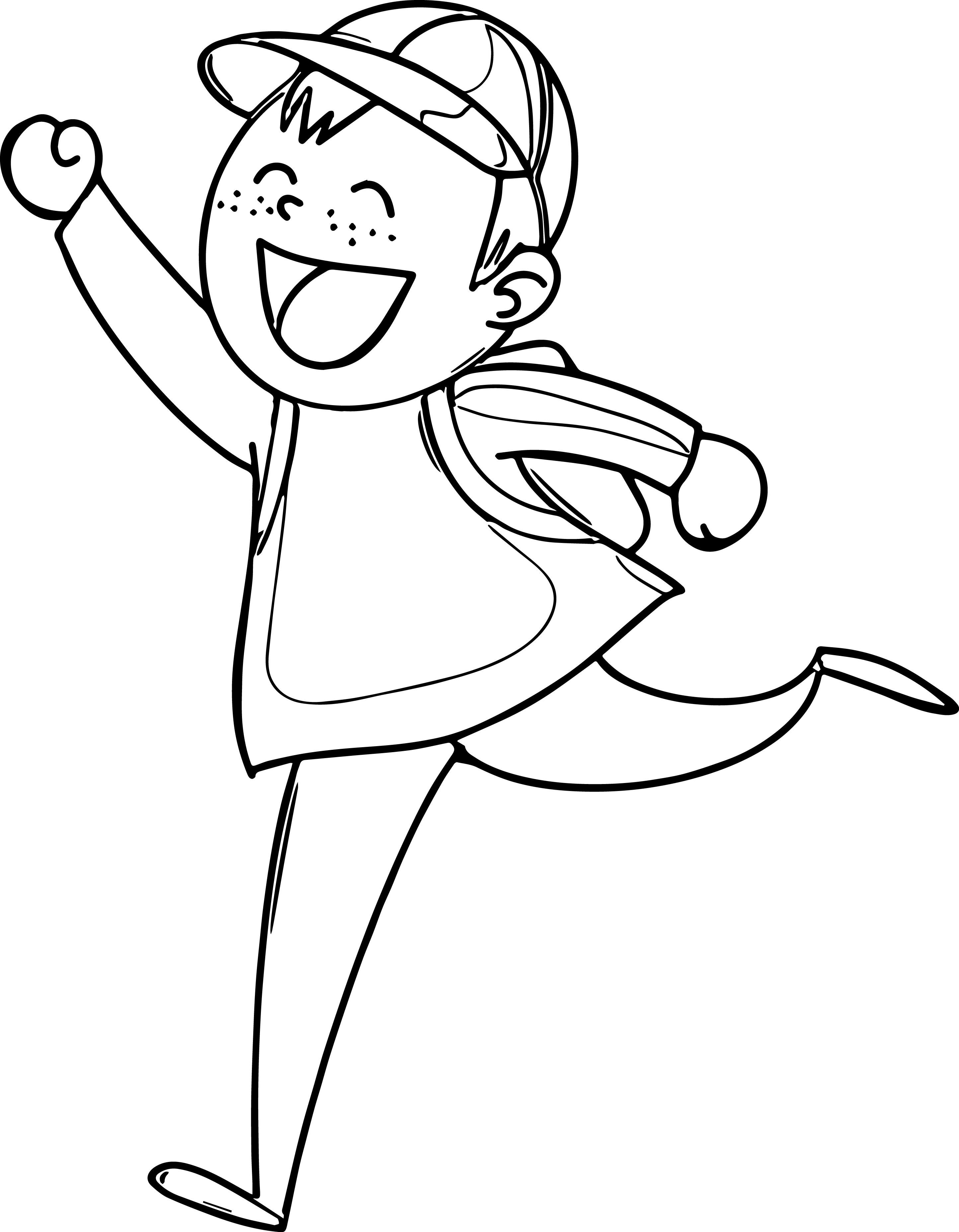 Very Happy Boy Coloring Page