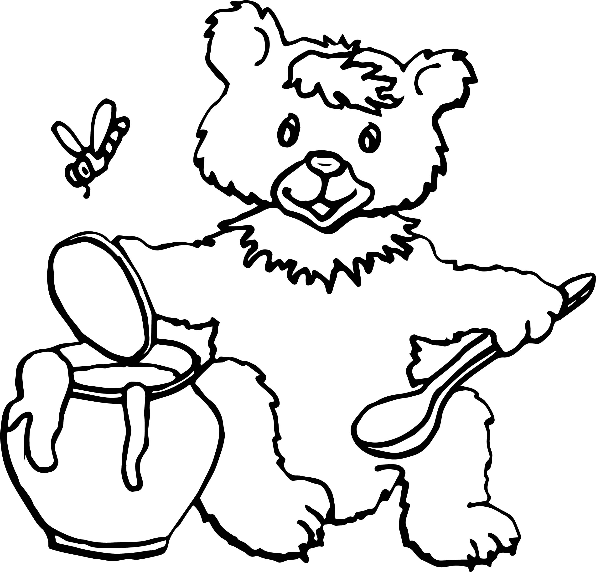 A Bear Honey Bee Coloring Page