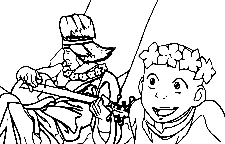 Aang Flower Crown Avatar Aang Coloring Page