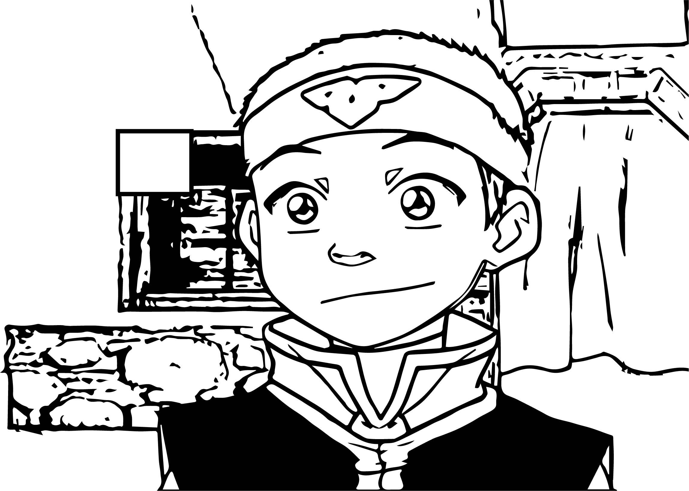 Aang Headband Avatar Aang Coloring Page