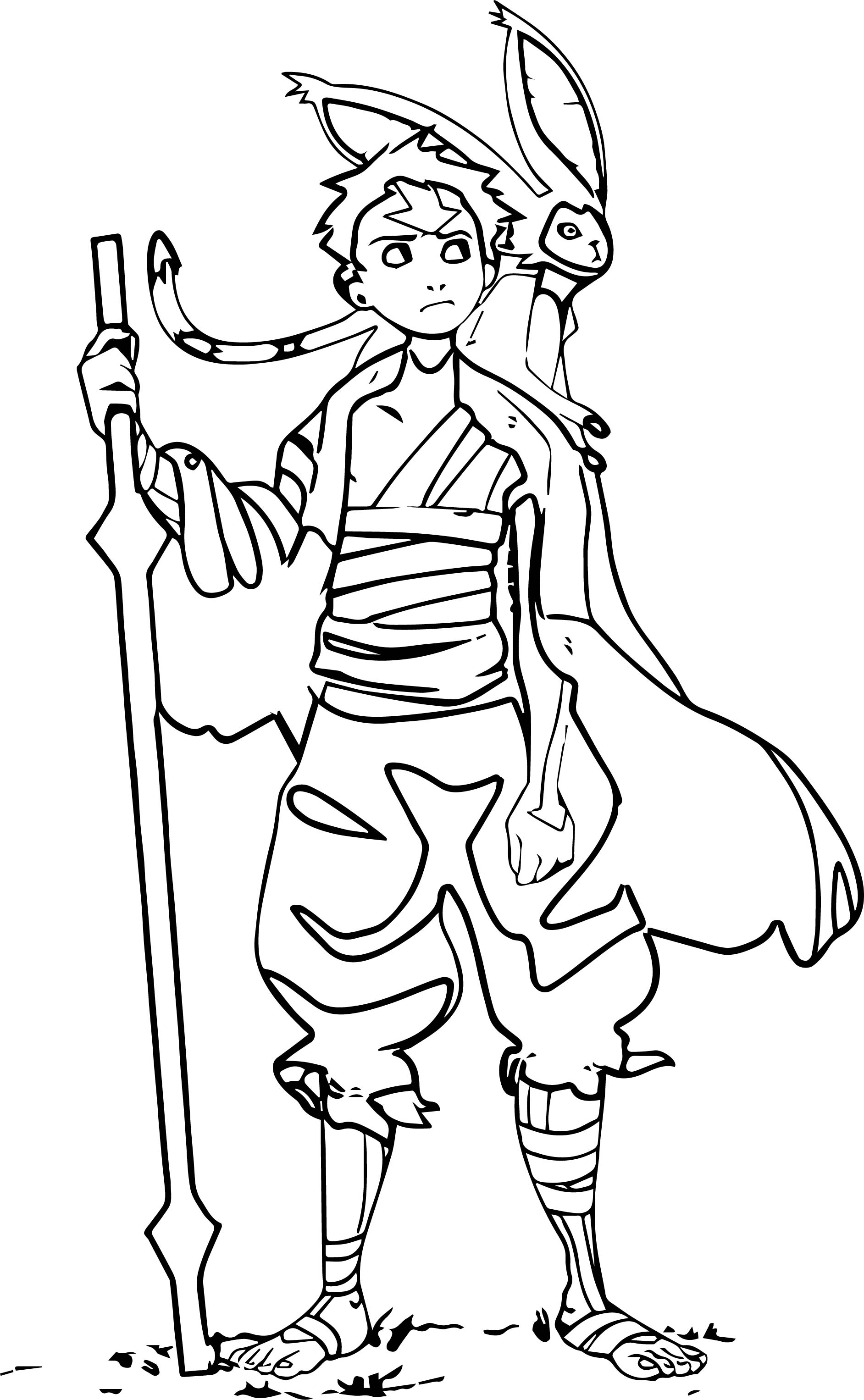 Aang Is Ready Avatar Aang Coloring Page