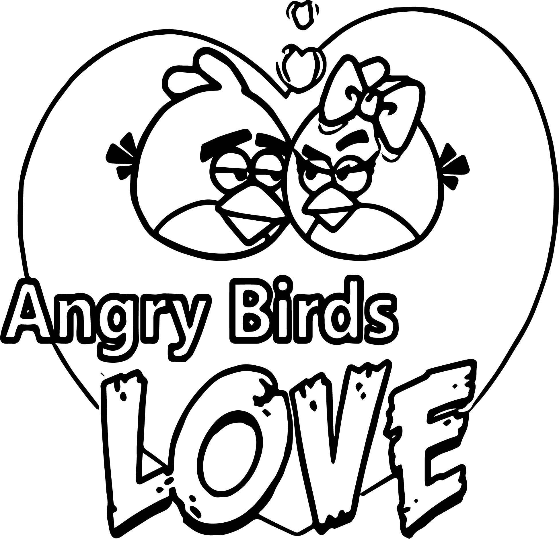 Angry Birds Love Coloring Page