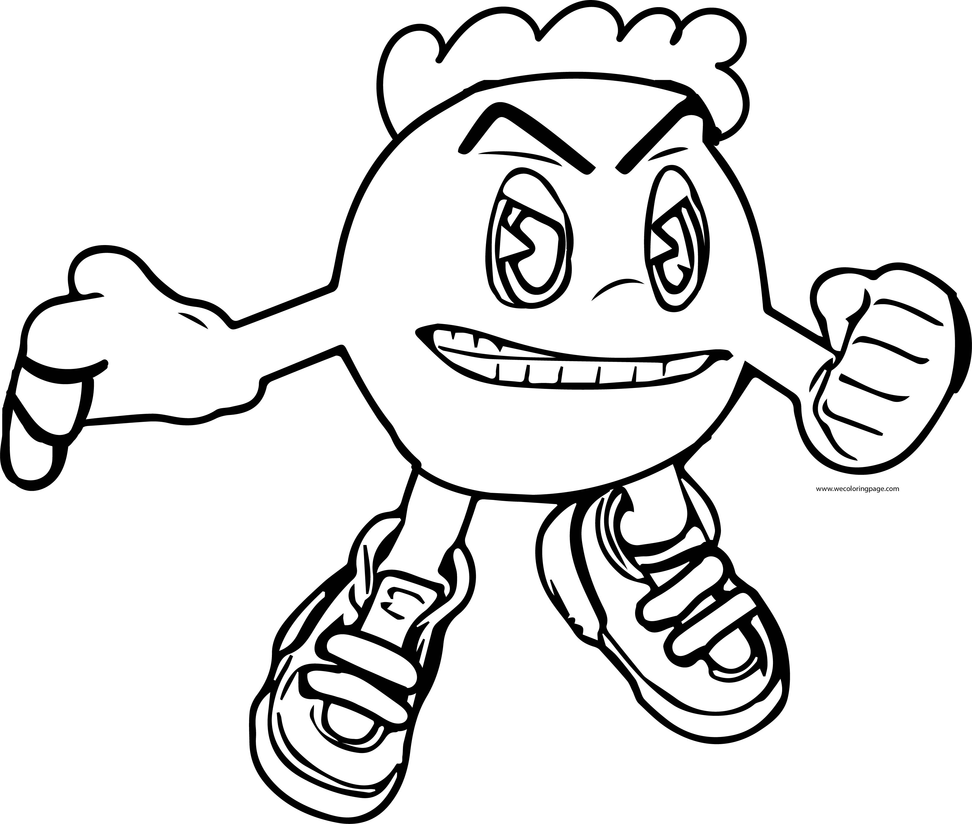 Angry Pacman Pac Man Fight Coloring Page