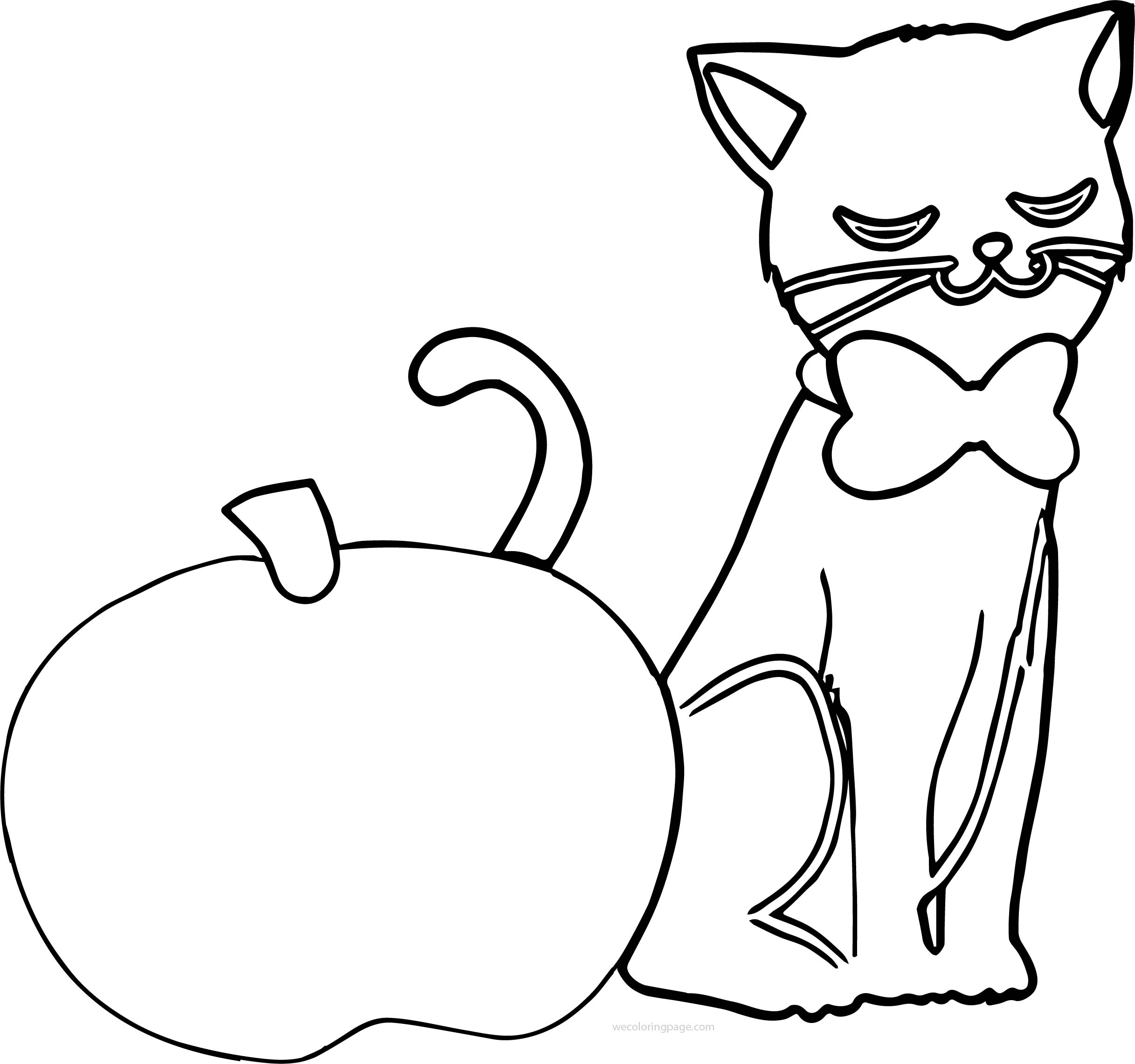 Apple And Cat Coloring Page