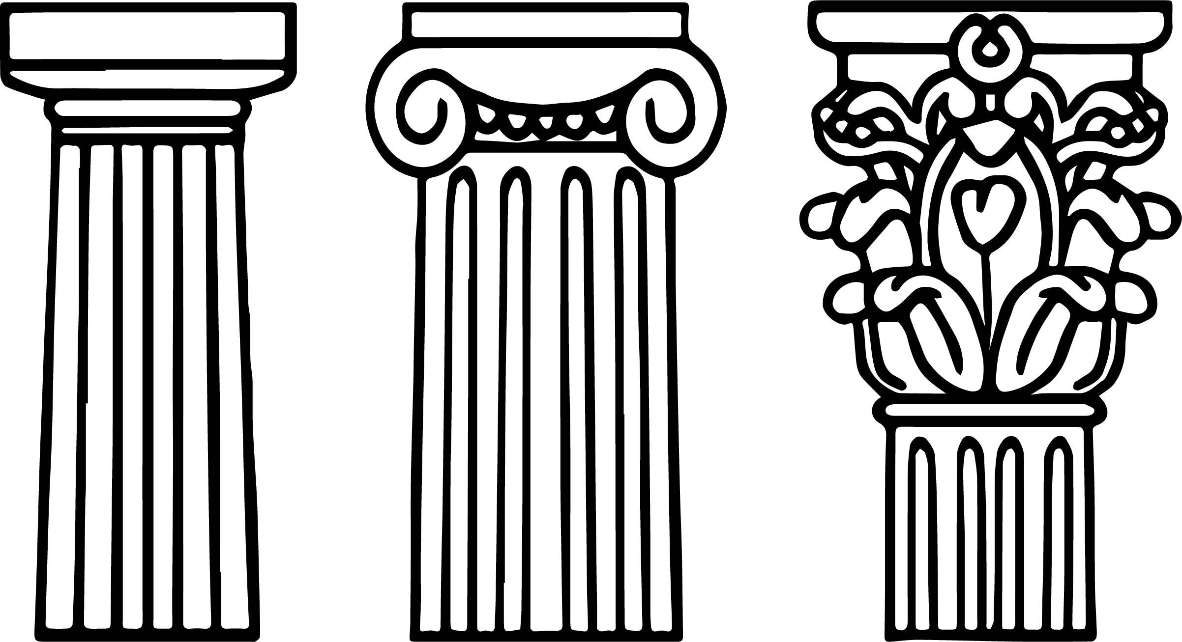 Architecture Columns Coloring Page