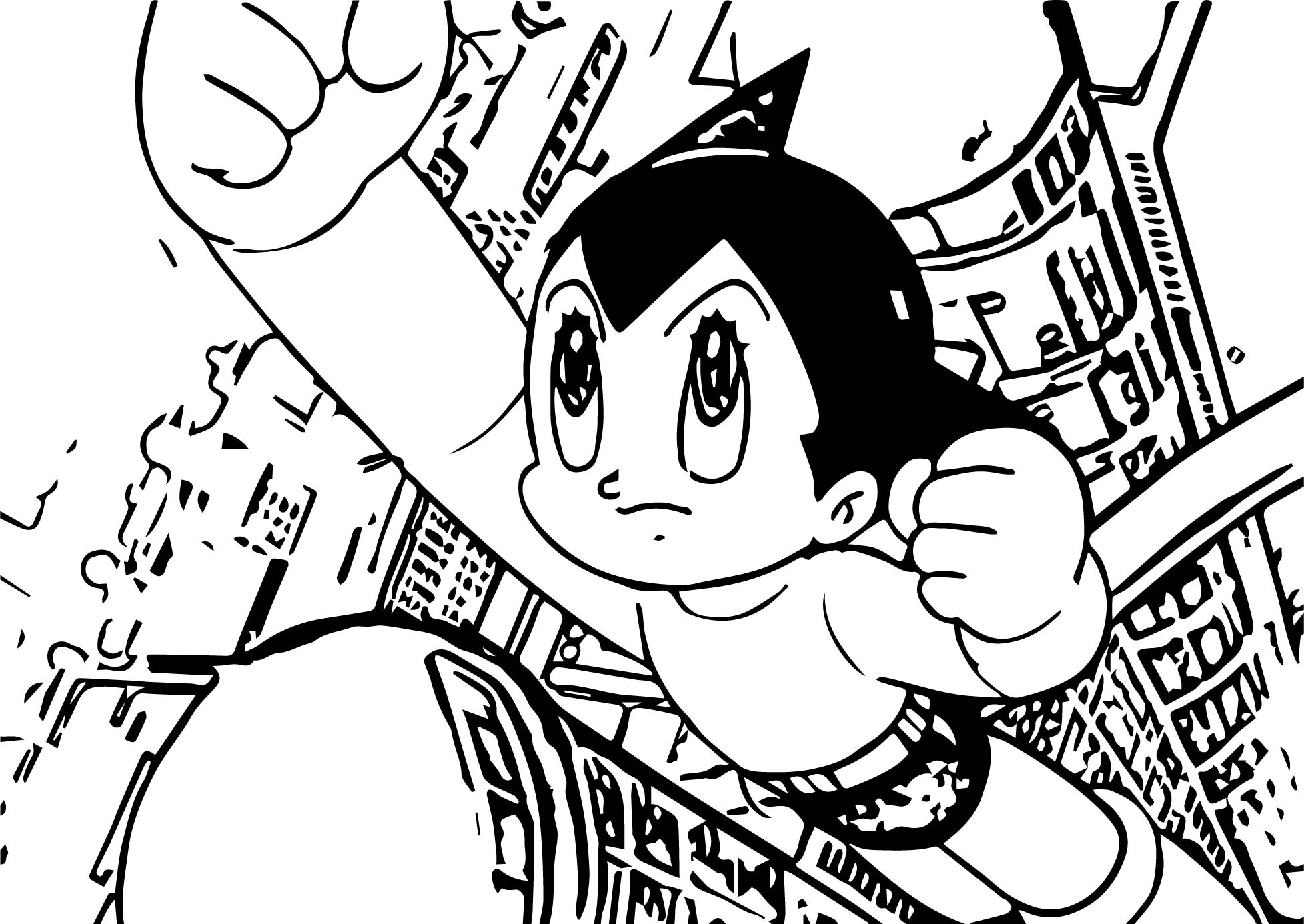 Astro Boy Feature Coloring Page