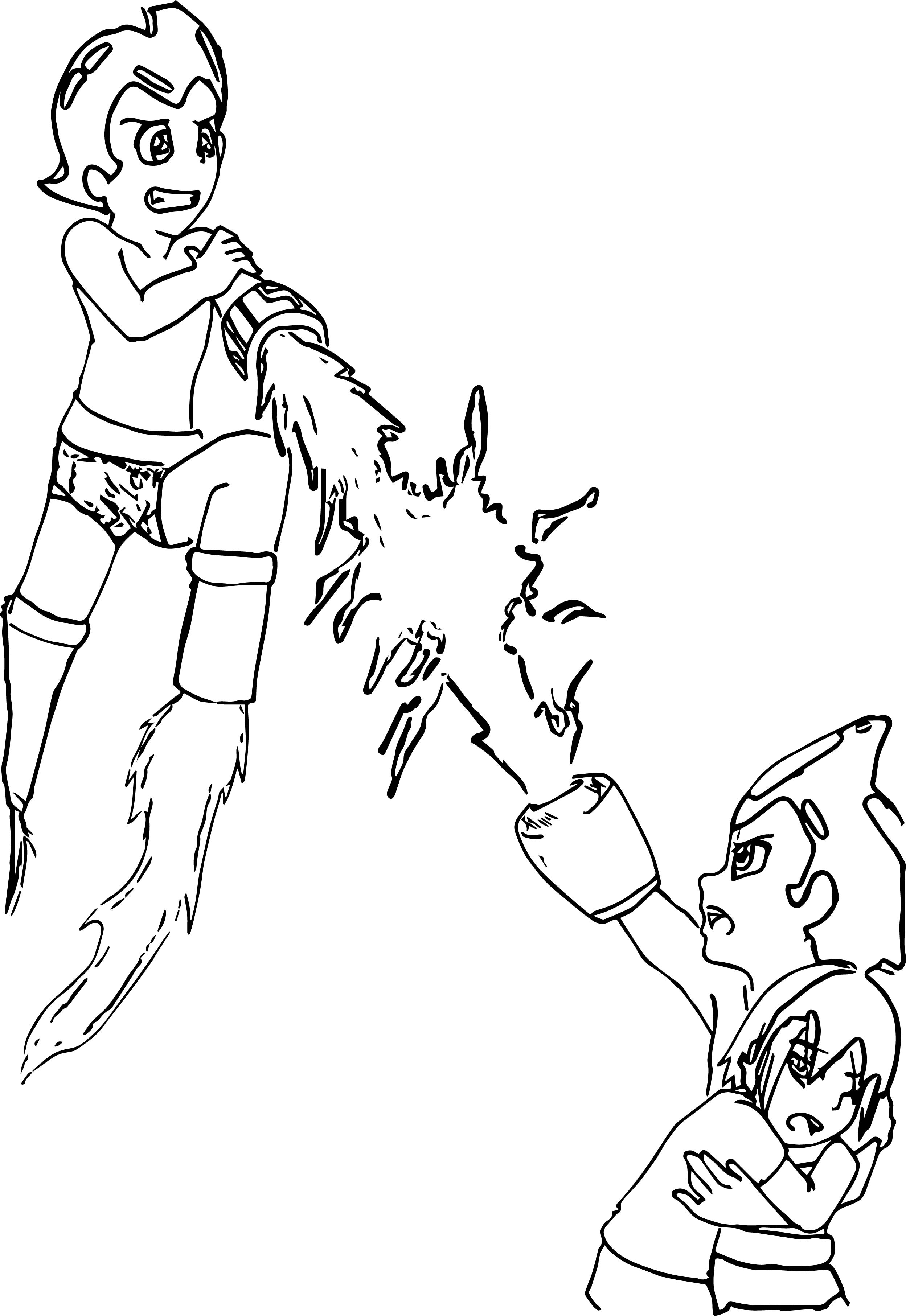 Astro Boy Red Core War Coloring Page