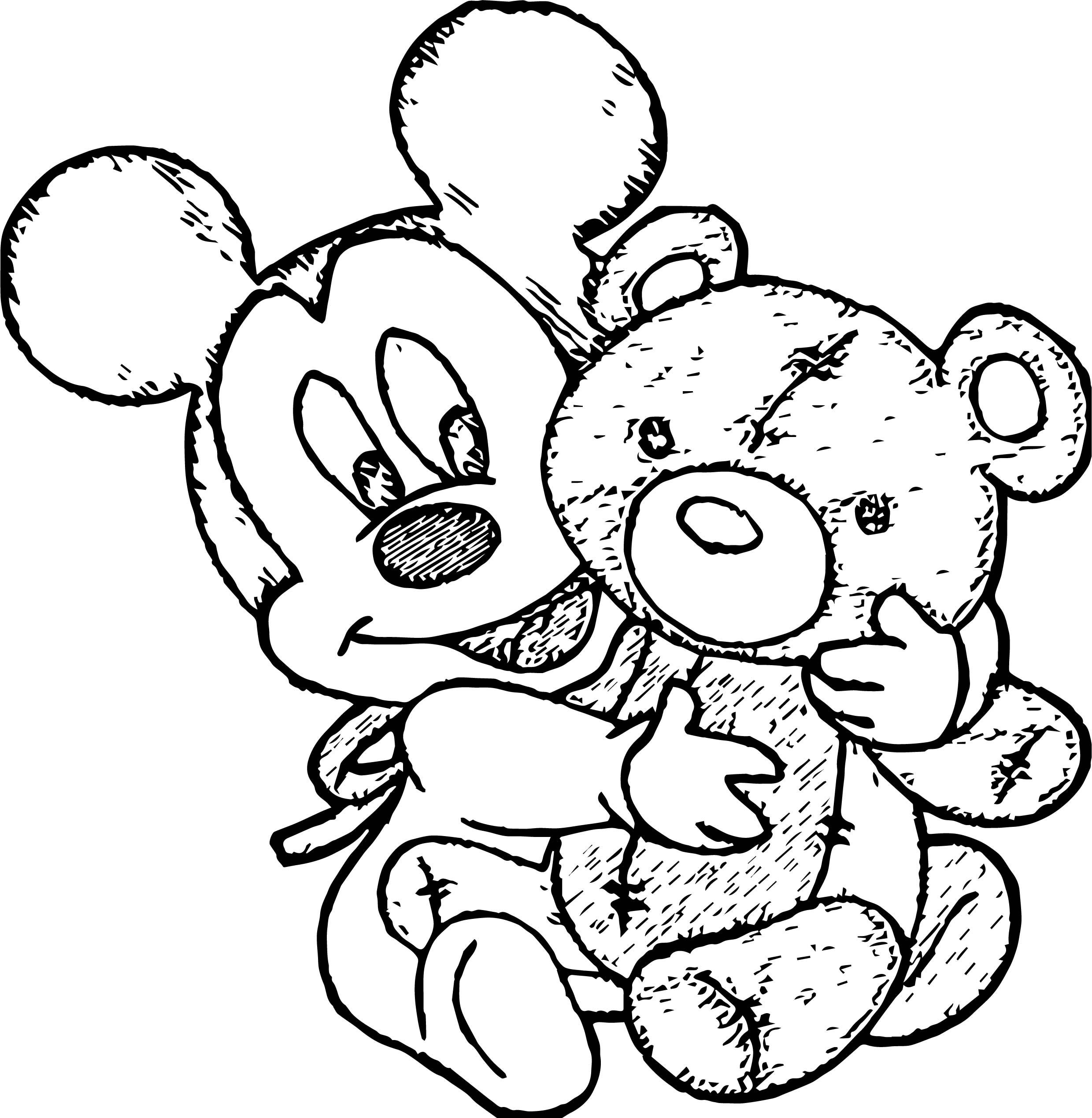 Baby mickey cute bears toy coloring page for Baby toys coloring pages