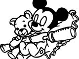 Baby Mickey Sleep With Bear Toy Coloring Page
