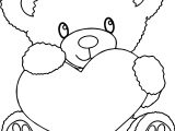Bear Holding Heart Coloring Page