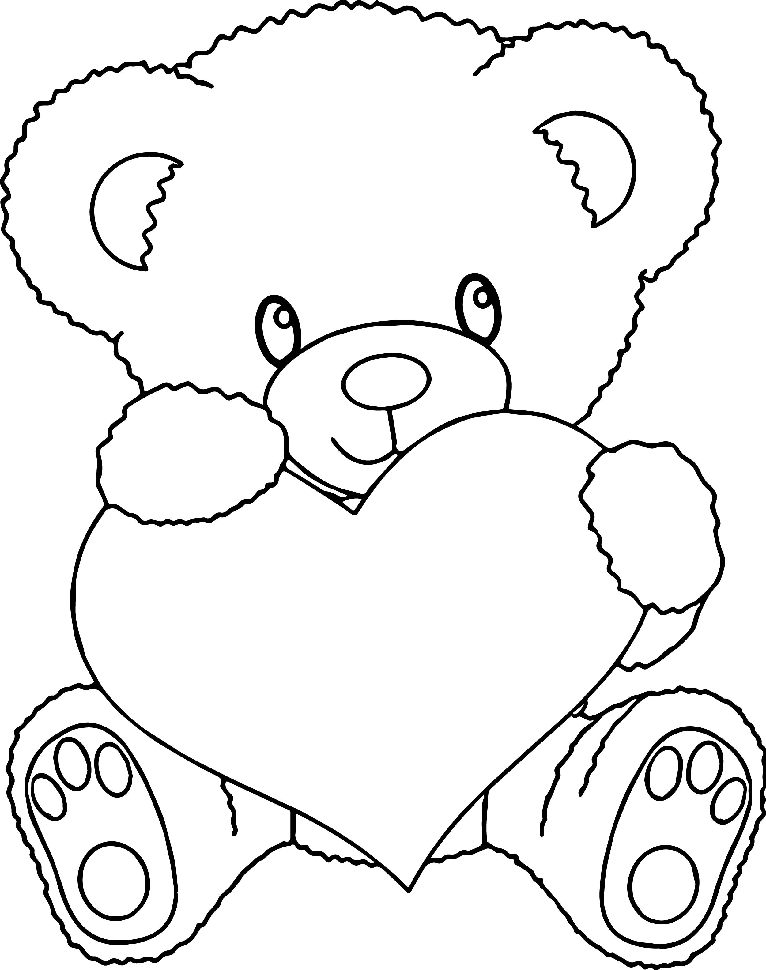 coloring pages for bears with hearts | Bear Holding Heart Coloring Page | Wecoloringpage.com