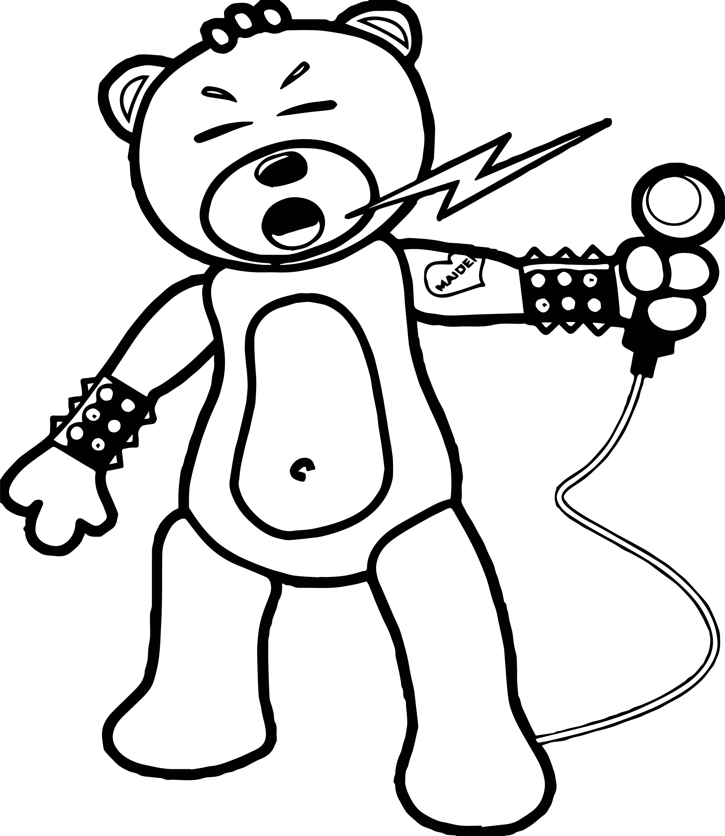 singer coloring pages - bear rock singer coloring page