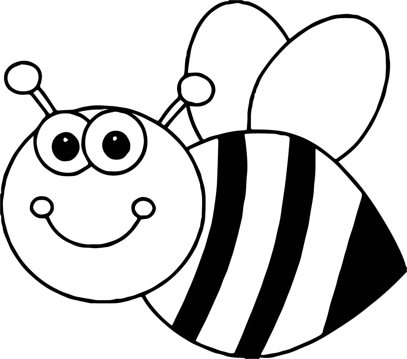 Bee Coloring Cartoon Page