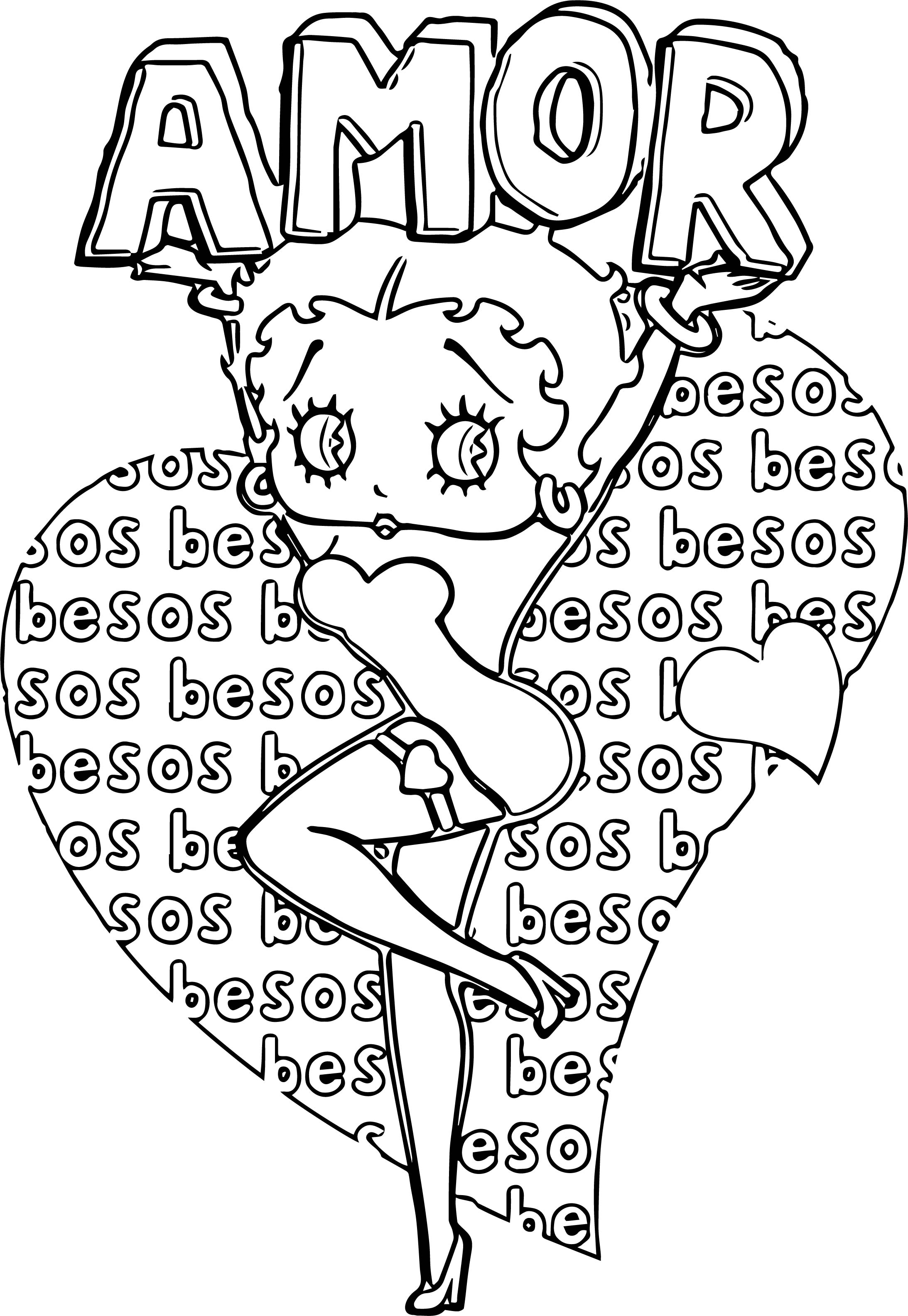 Betty Boop Amor Besos Coloring Page