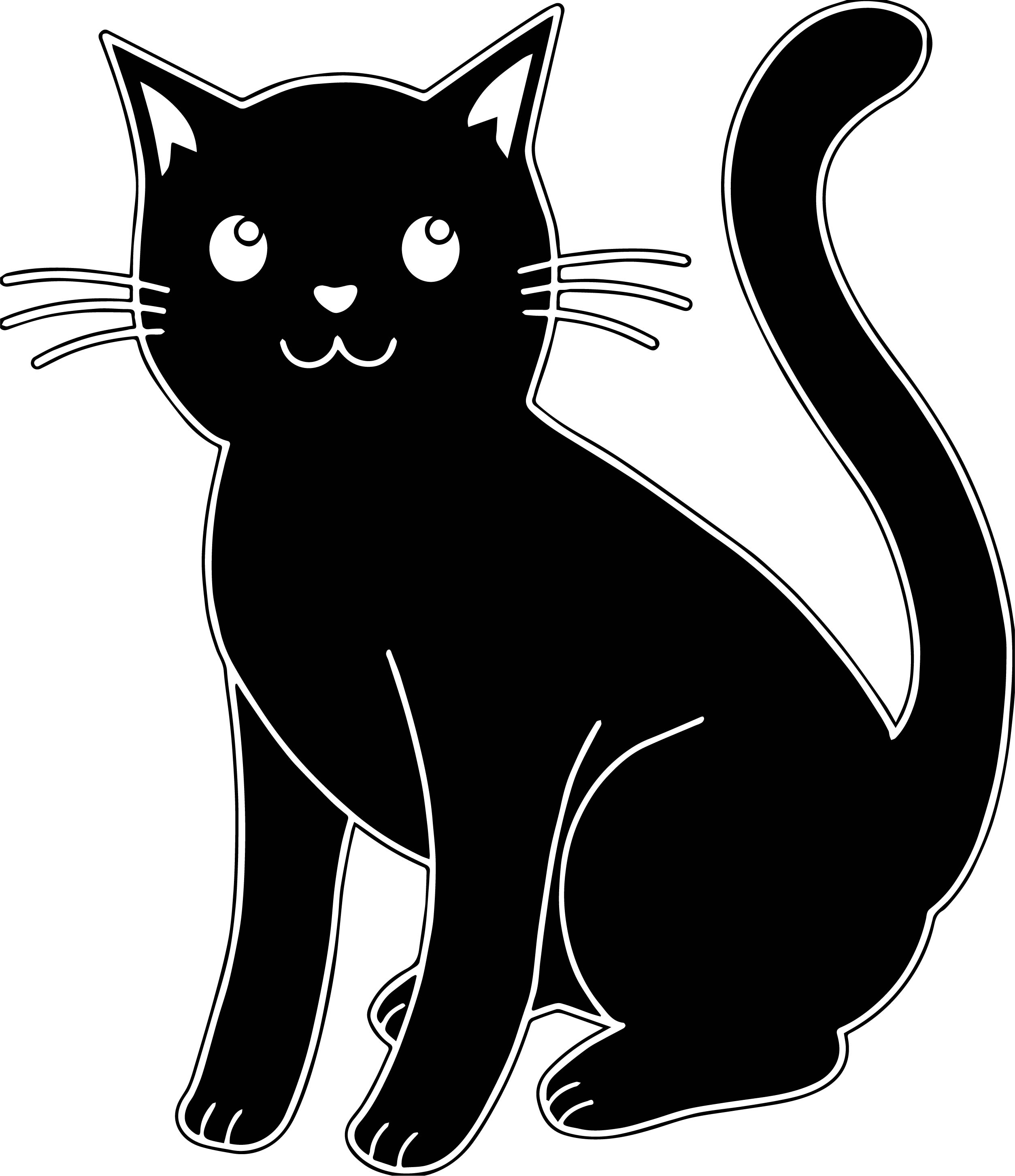 Blach Cute Cat Coloring Page
