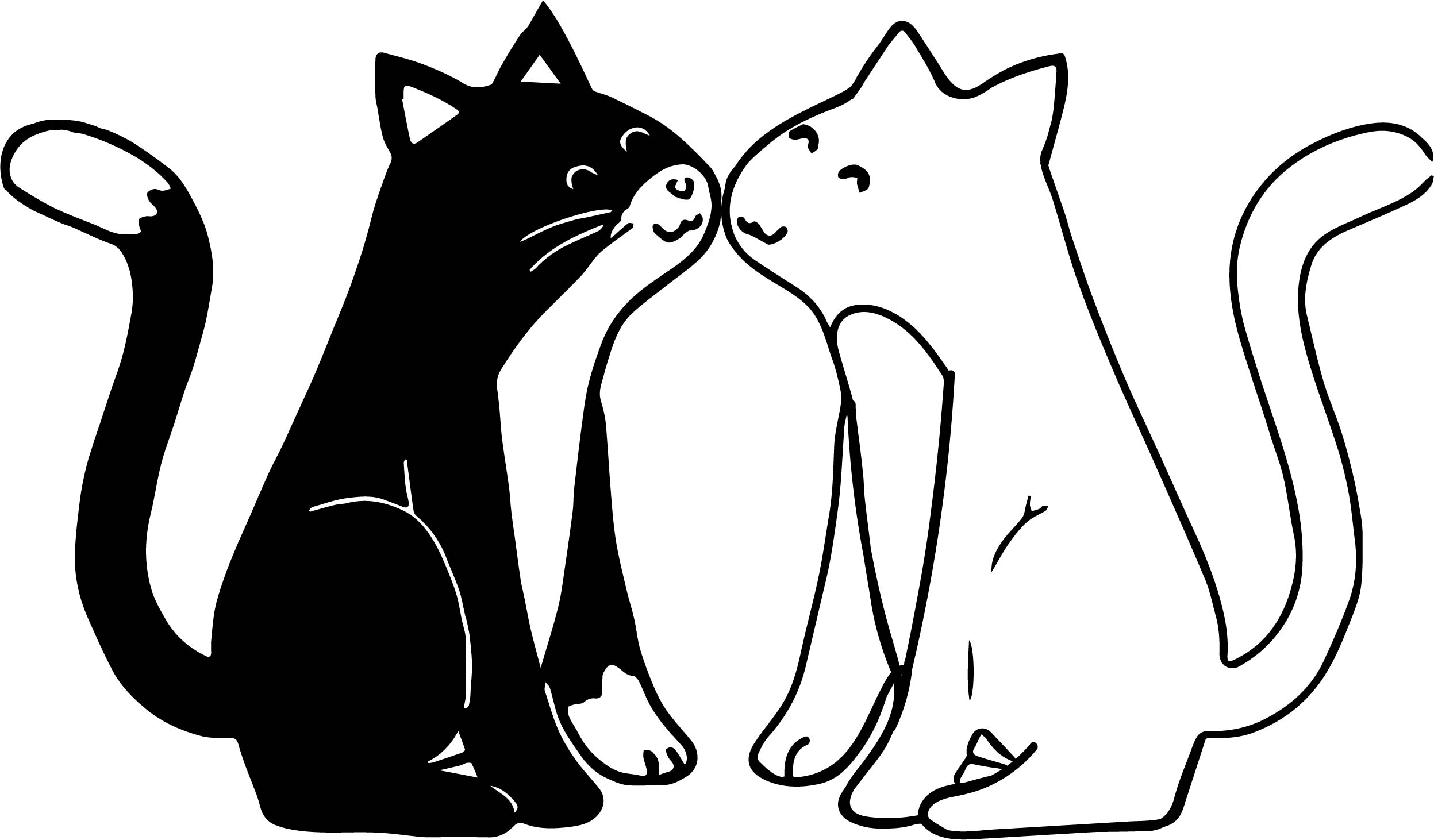 Black And White Cat Love Coloring Page