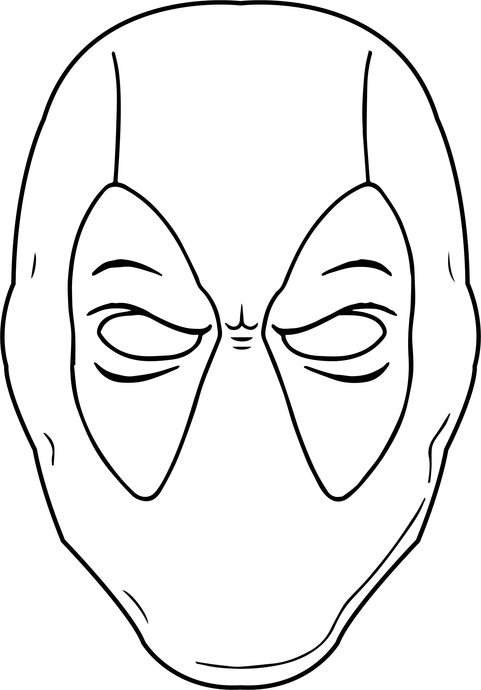 Deadpool Coloring Pages: Black White Outline Deadpool Coloring Page