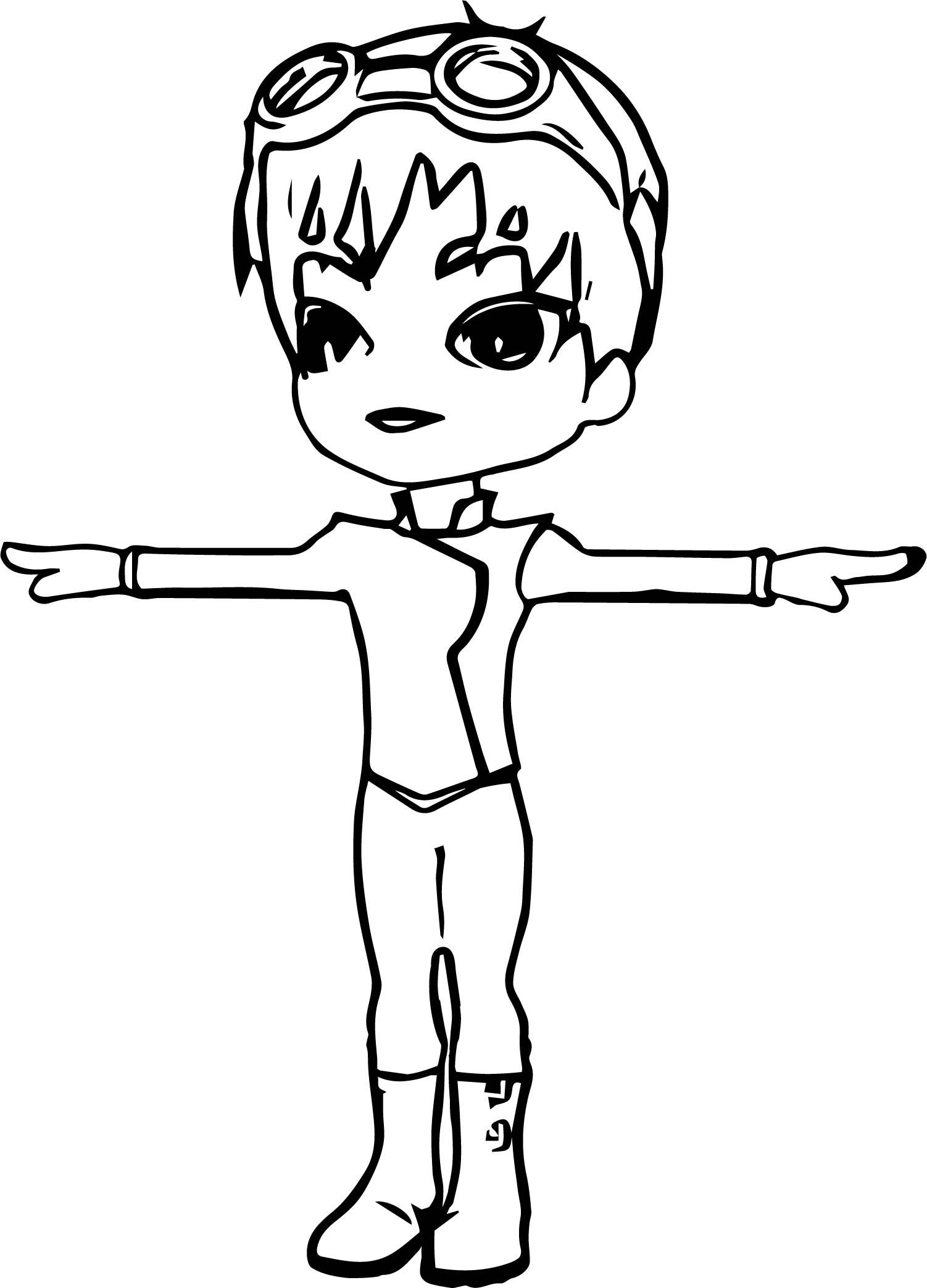 Boy Pose Coloring Page