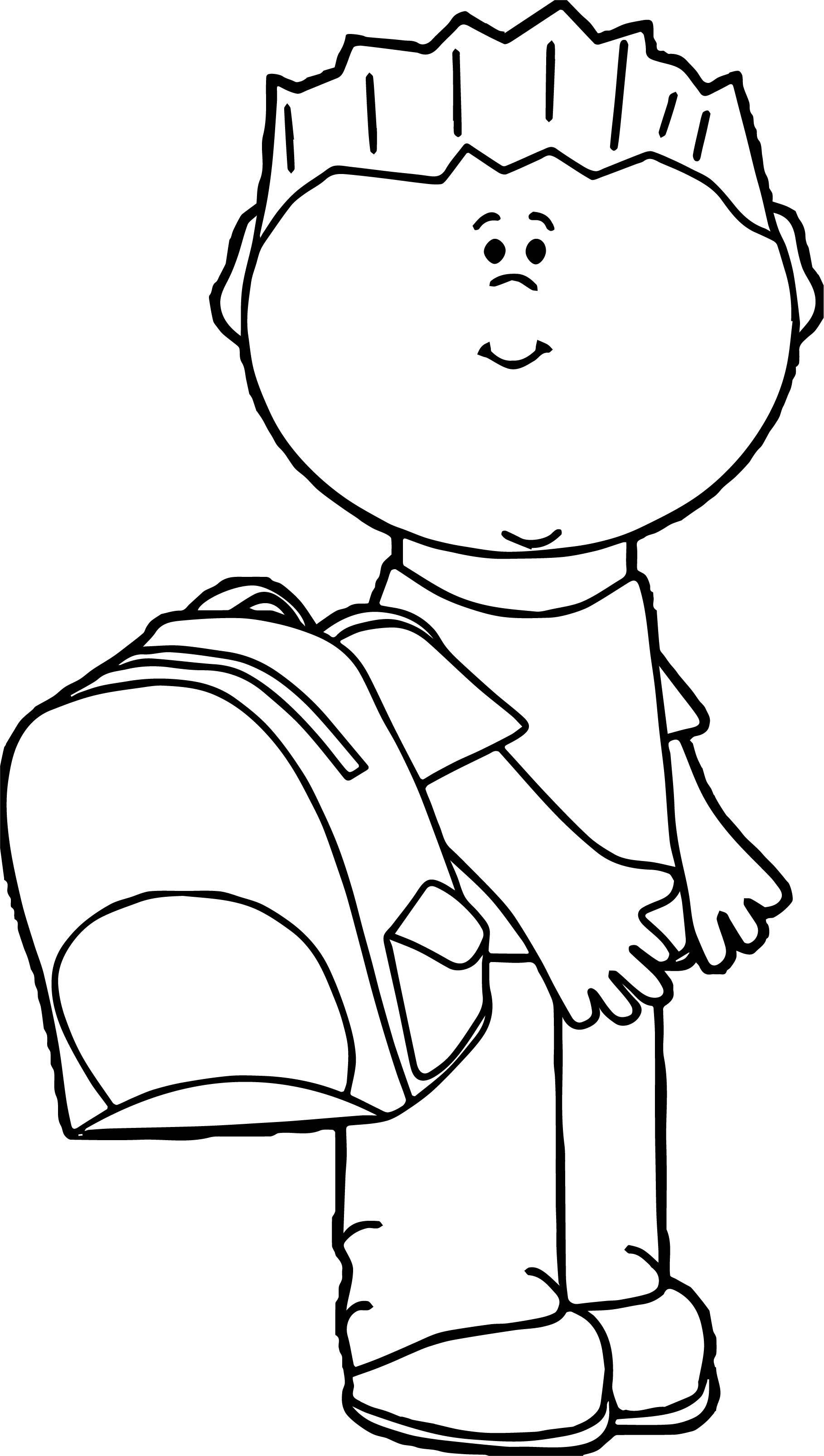 Boy School Bag Coloring Page