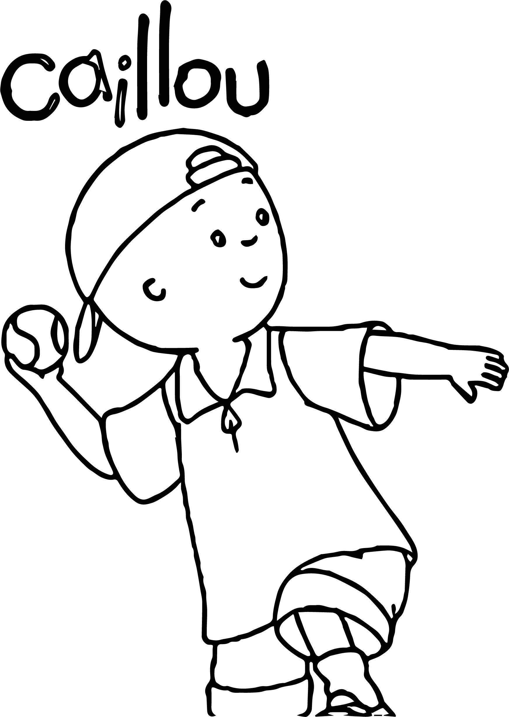 Caillou Baseball Coloring Page