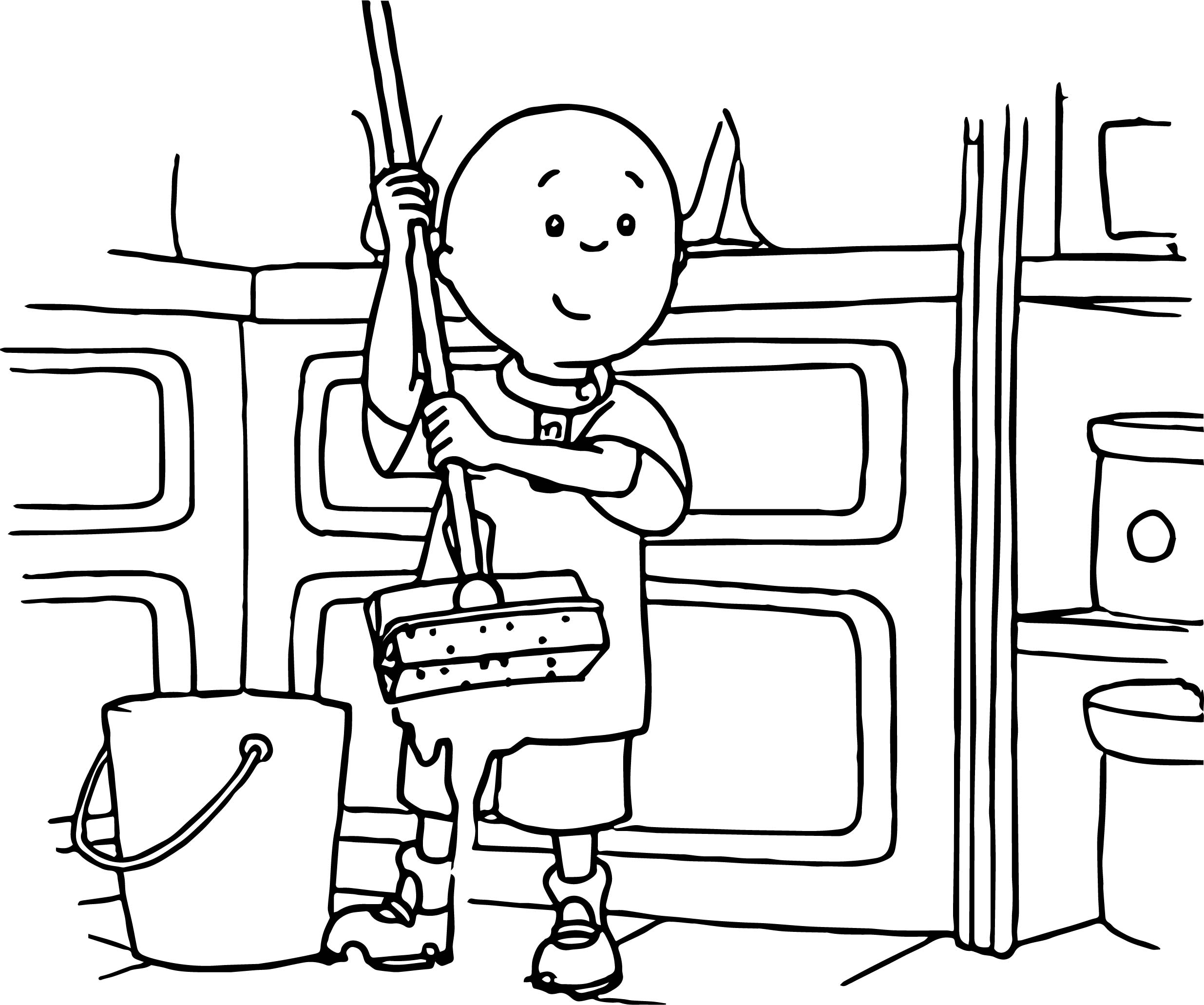 Caillou Cleaning Home Coloring Page
