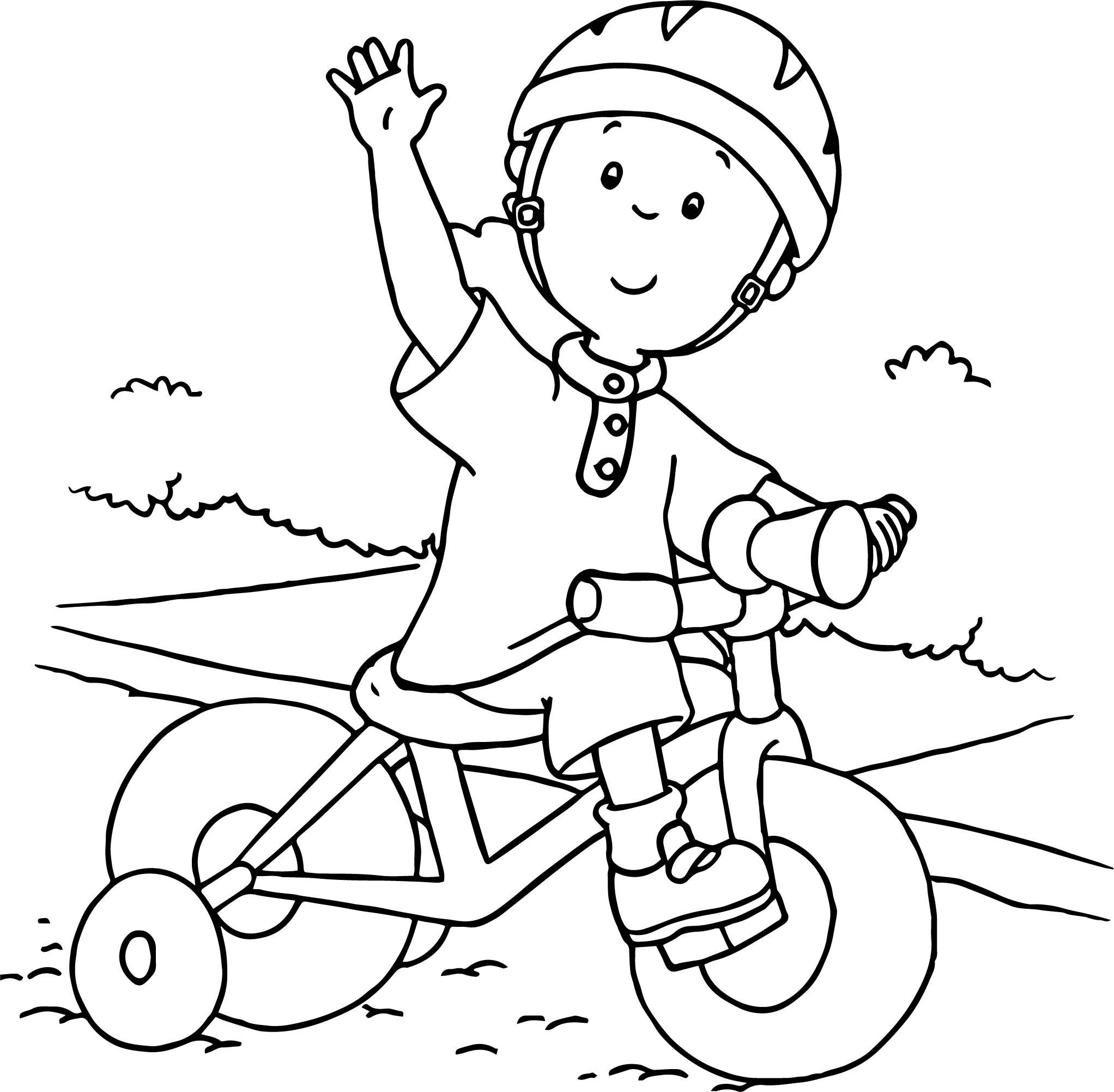 Caillou Driving Biycle Coloring Page