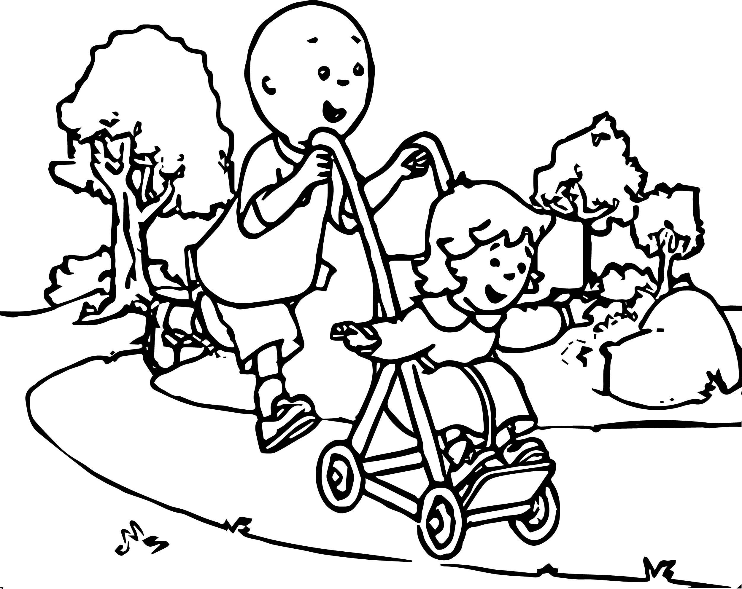 Caillou Running In The Park Coloring Page