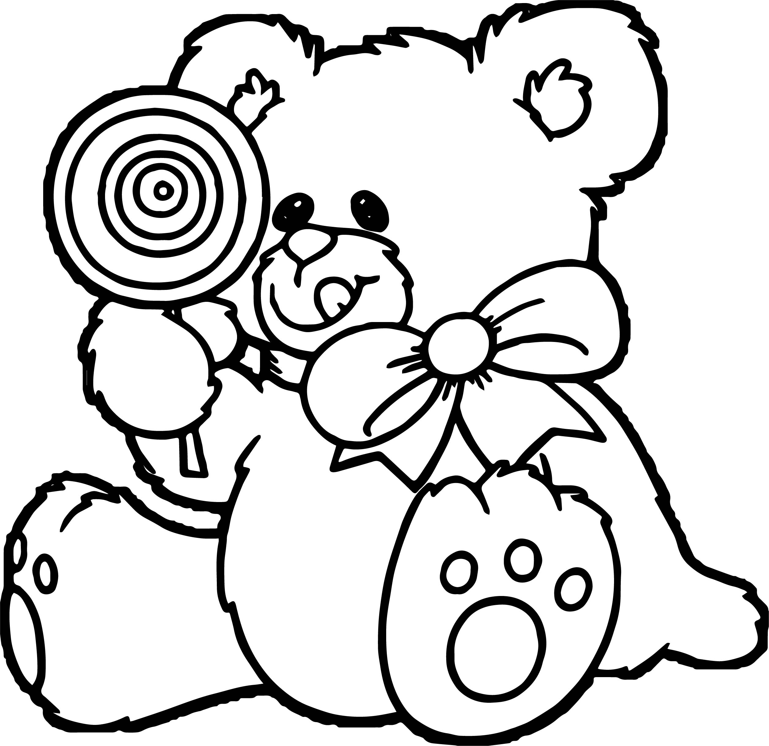 Candy Bear Coloring Page
