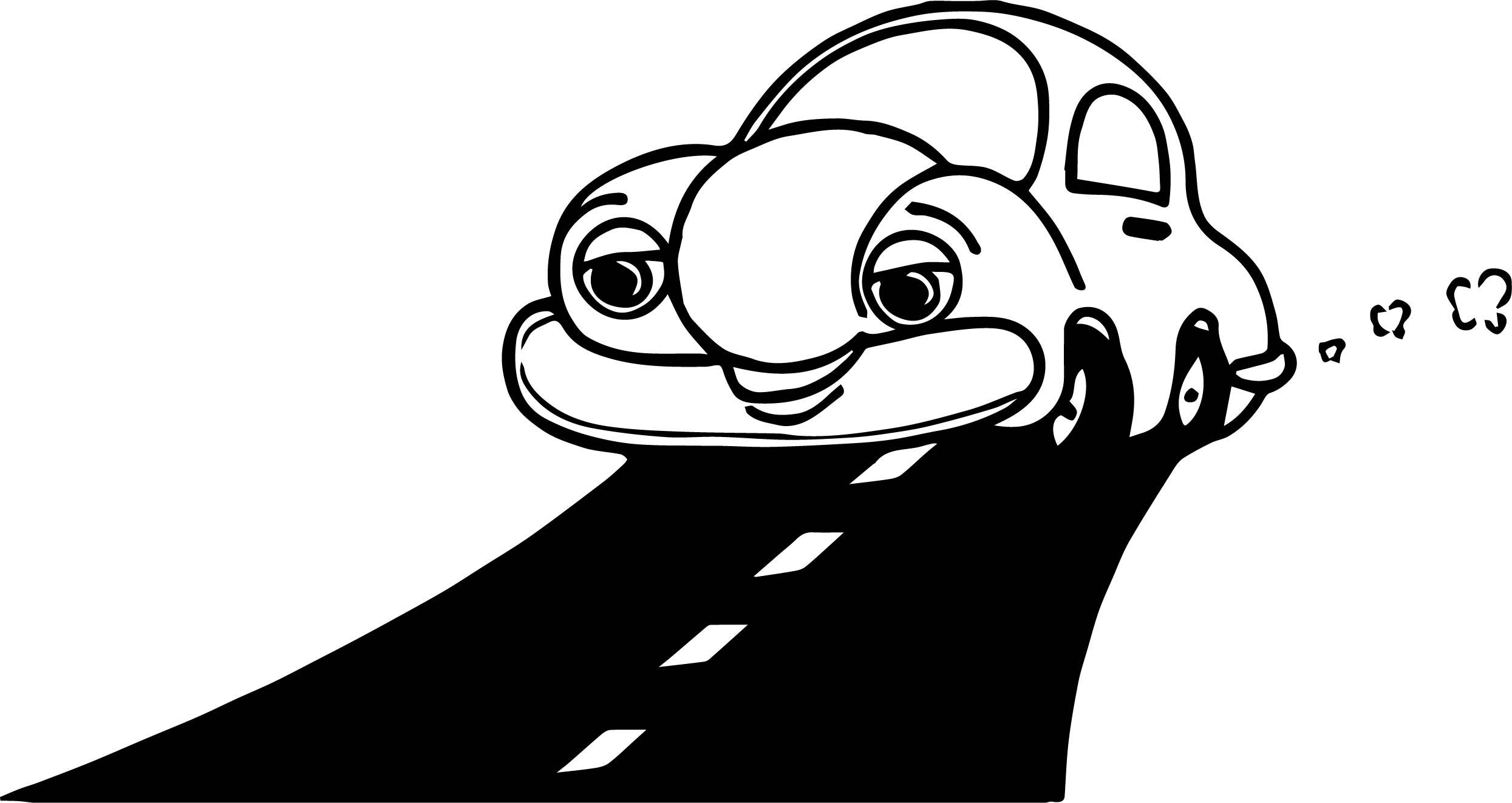 Car Cute Cartoon Race Coloring Page